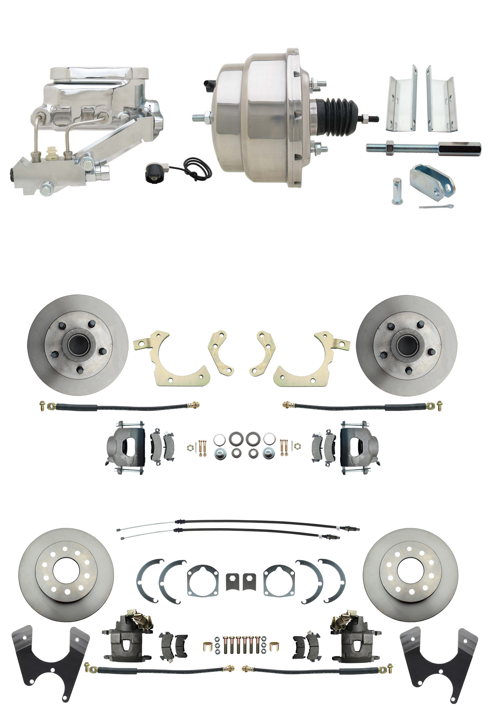 1955-1958 GM Full Size Front & Rear Power Disc Brake Kit (Impala, Bel Air, Biscayne) & 8 Dual Stainless Steel Booster Conversion Kit W/ Chrome Flat Top Master Cylinder Left Mount Disc/ Disc Proportioning Valve Kit