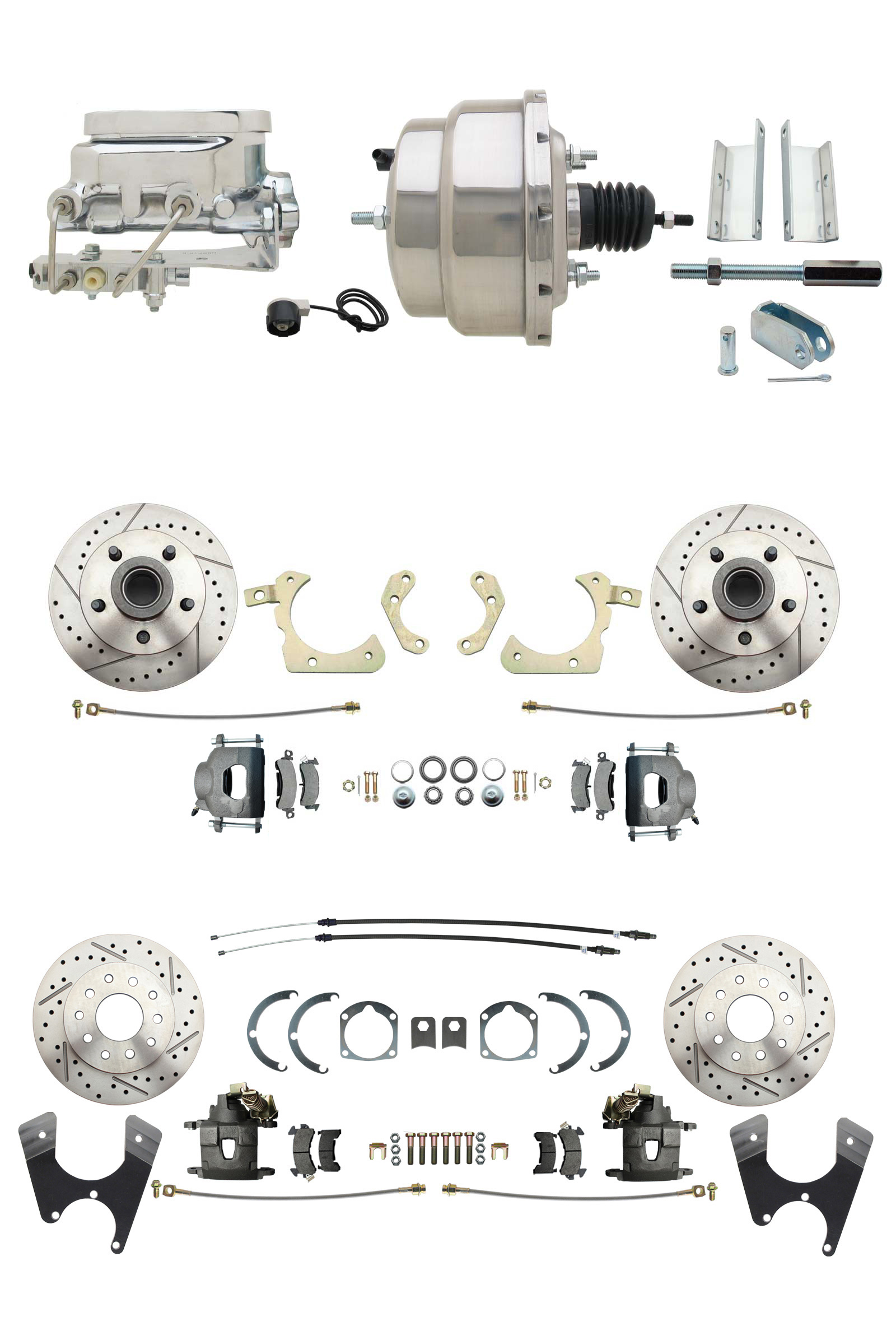 1955-1958 GM Full Size Disc Brake Kit Drilled/Slotted Rotors (Impala, Bel Air, Biscayne) & 8 Dual Chrome Booster Conversion Kit W/ Flat Top Chrome Master Cylinder Bottom Mount Disc/ Disc Proportioning Valve Kit
