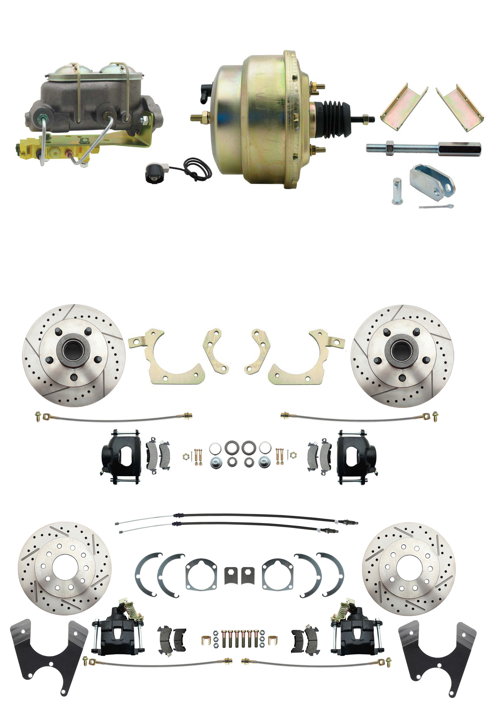 1955-1958 GM Full Size Front & Rear Power Disc Brake Kit Black Powder Coated Calipers Drilled/Slotted Rotors (Impala, Bel Air, Biscayne) & 8 Dual Zinc Booster Conversion Kit W/ Cast Iron Master Cylinder Bottom Mount Dis