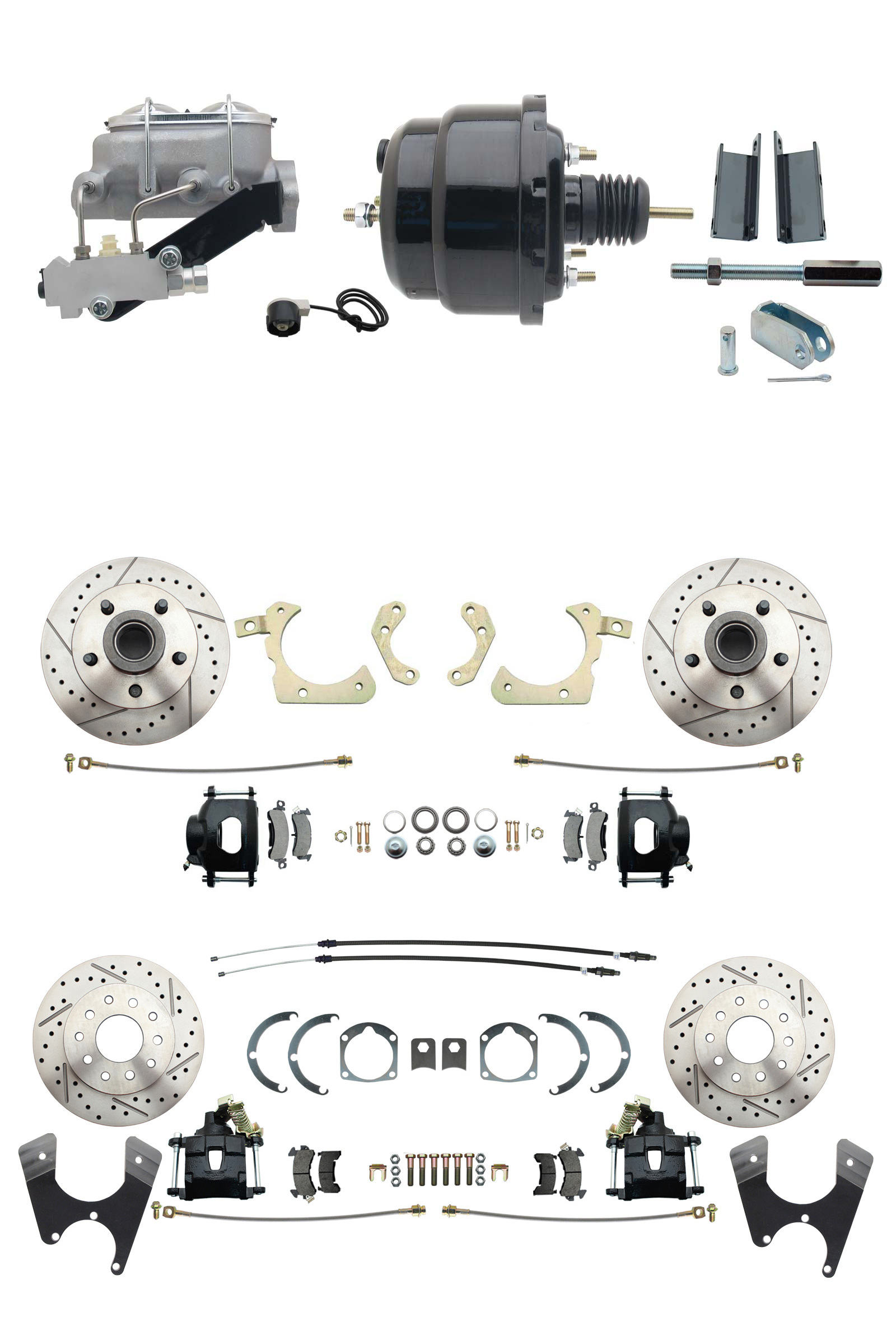 1955-1958 GM Full Size Front & Rear Power Disc Brake Kit Black Powder Coated Calipers Drilled/Slotted Rotors (Impala, Bel Air, Biscayne) & 8 Dual Powder Coated Black Booster Conversion Kit W/ Aluminum Master Cylinder Le