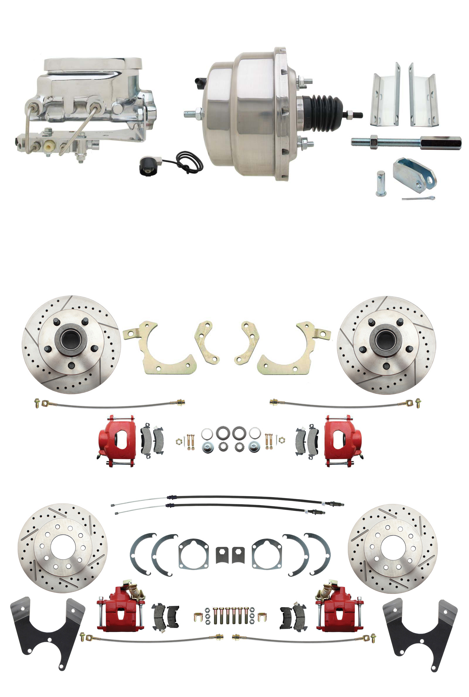 1955-1958 GM Full Size Front & Rear Power Disc Brake Kit Red Powder Coated Calipers Drilled/Slotted Rotors (Impala, Bel Air, Biscayne) & 8 Dual Chrome Booster Conversion Kit W/ Flat Top Chrome Master Cylinder Bottom Mou