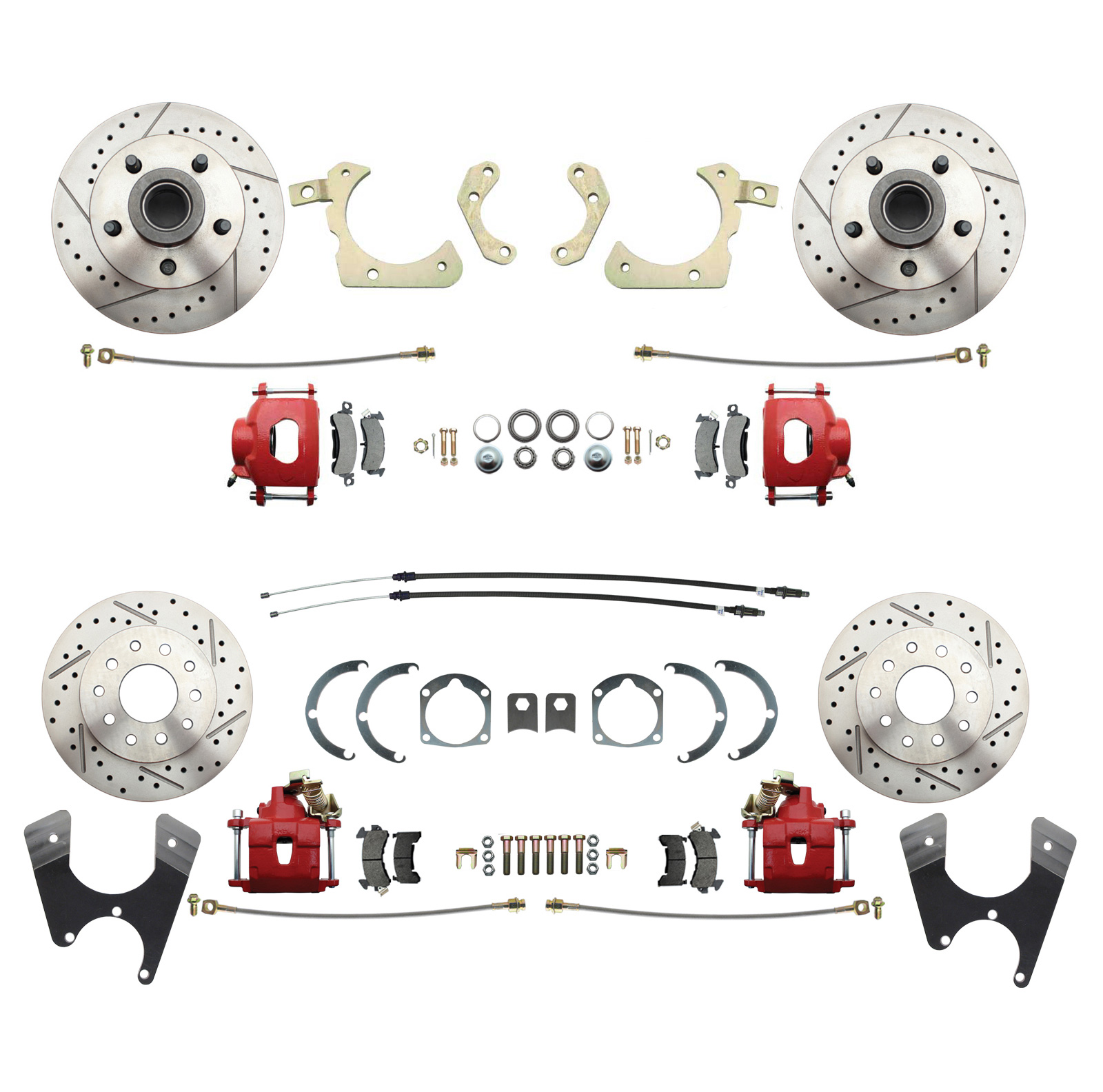1955-1958 GM Full Size Front & Rear  Disc Brake Kit Red Powder Coated Calipers Drilled/Slotted Rotors (Impala, Bel Air, Biscayne)