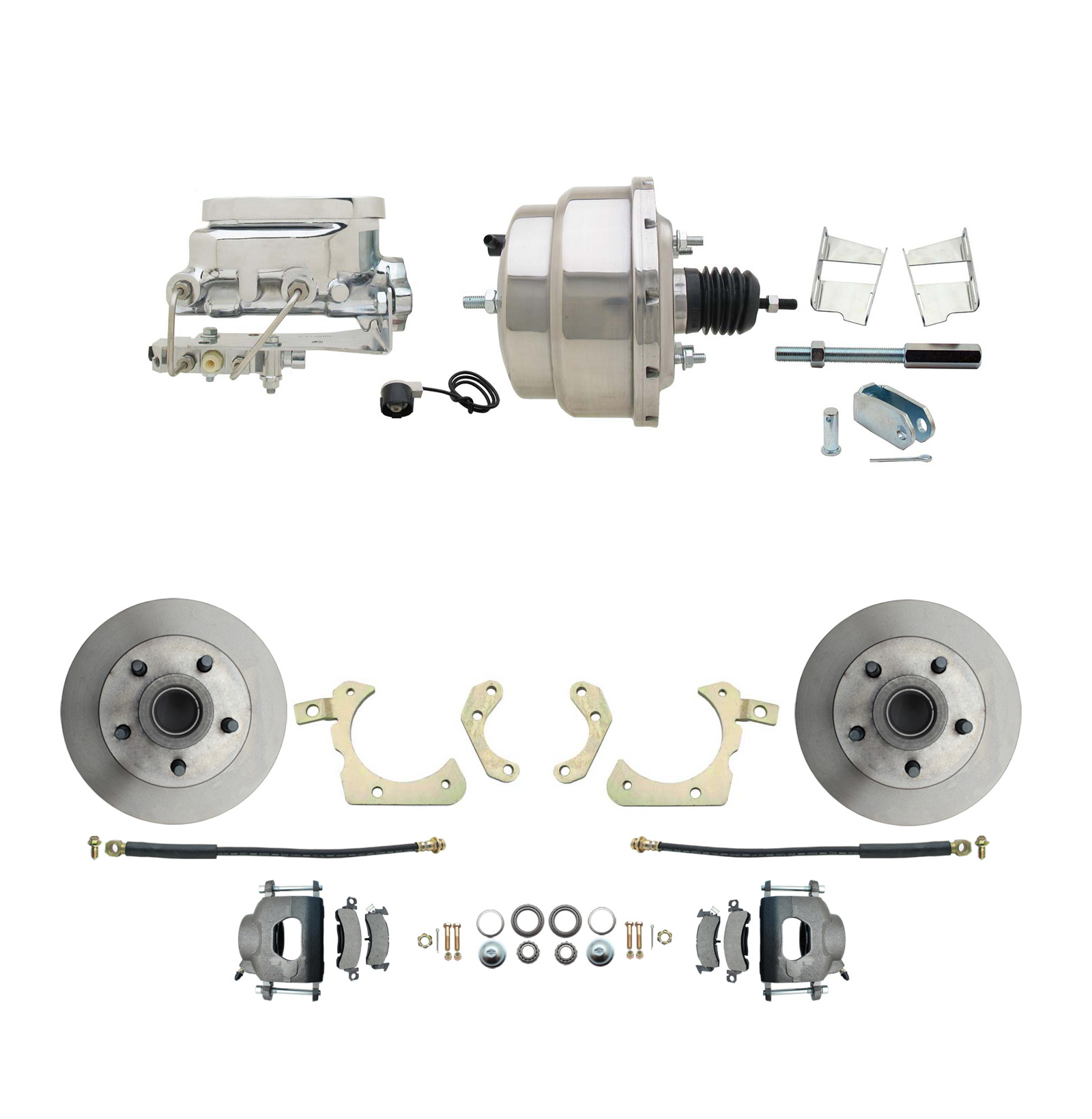 1959-1964 GM Full Size Front Disc Brake Kit (Impala, Bel Air, Biscayne) & 8 Dual Chrome Booster Conversion Kit W/ Flat Top Chrome Master Cylinder Bottom Mount Disc/ Drum Proportioning Valve Kit