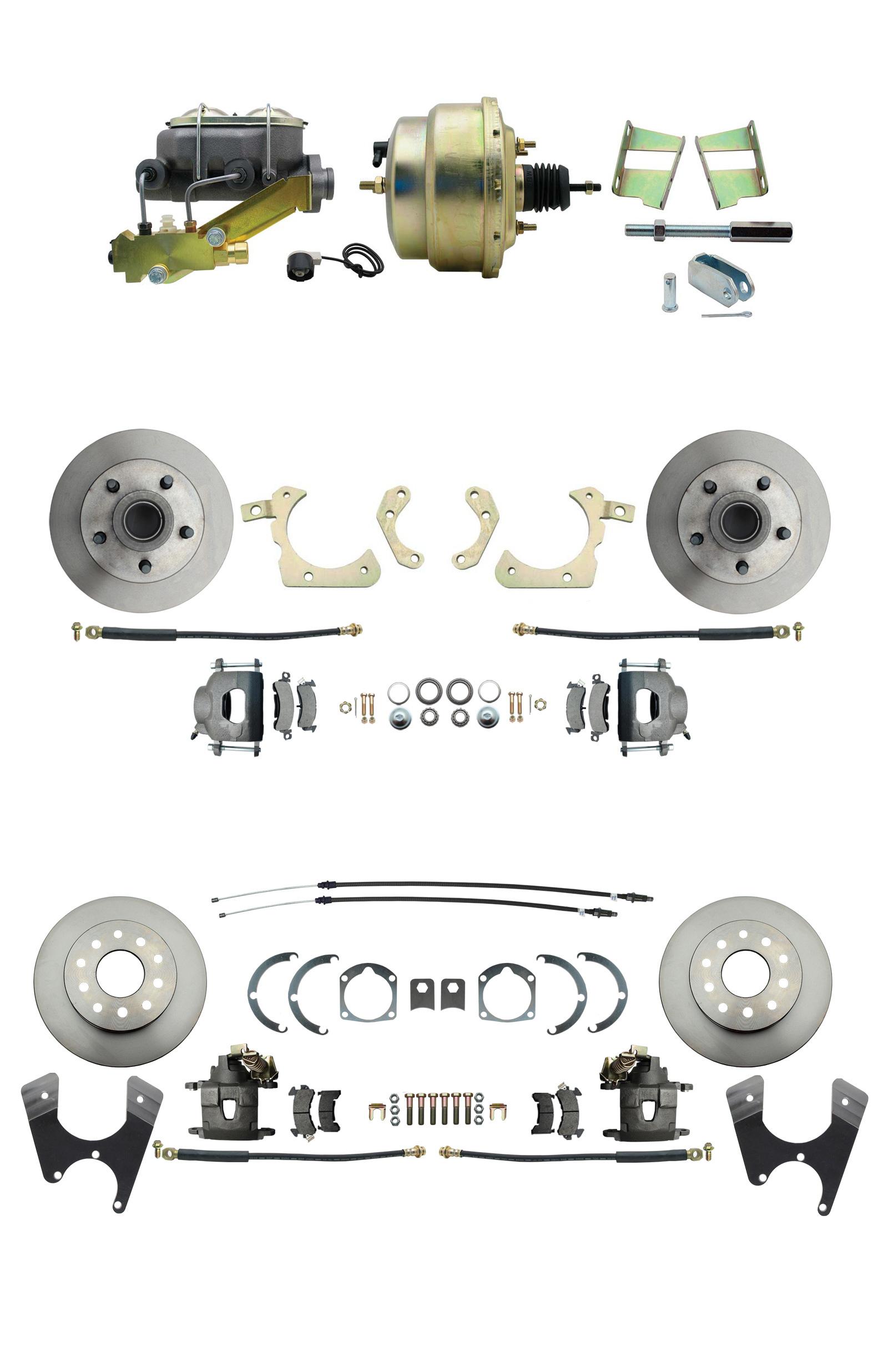 1959-1964 GM Full Size Front & Rear Power Disc Brake Kit (Impala, Bel Air, Biscayne) & 8 Dual Zinc Booster Conversion Kit W/ Cast Iron Master Cylinder Left Mount Disc/ Drum Proportioning Valve Kit