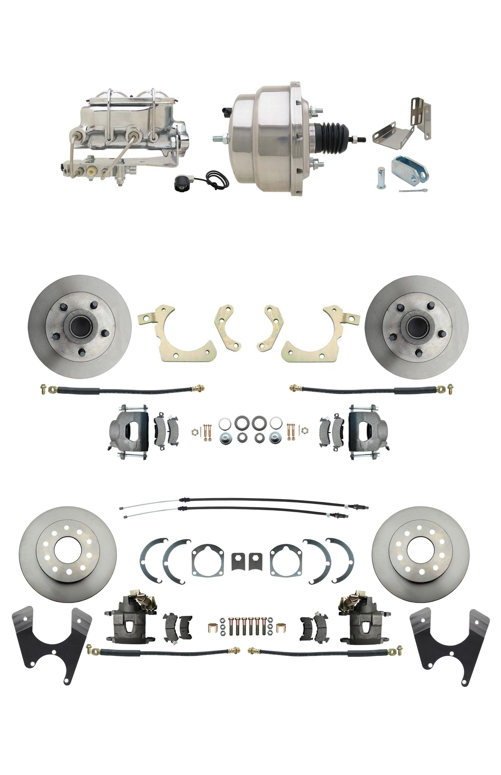 1959-1964 GM Full Size Front & Rear Power Disc Brake Kit (Impala, Bel Air, Biscayne) & 8 Dual Stainless Steel Conversion Kit W/ Chrome Master Cylinder Bottom Mount Disc/ Drum Proportioning Valve Kit