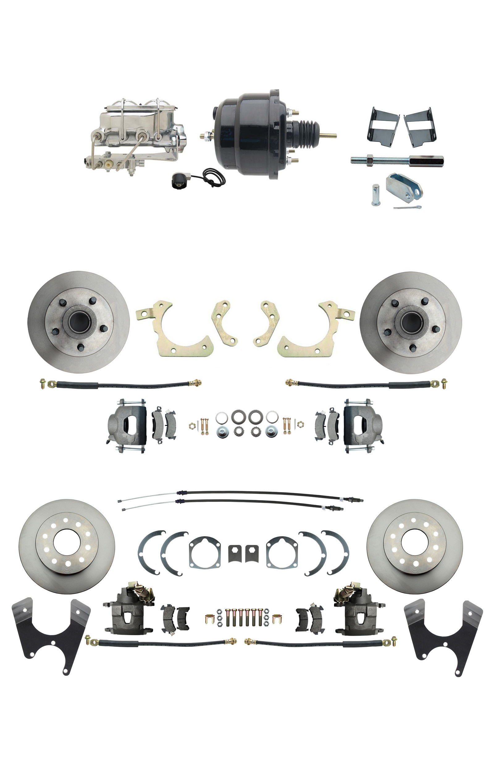 1959-1964 GM Full Size Front & Rear Power Disc Brake Kit (Impala, Bel Air, Biscayne) & 8 Dual Powder Coated Black Booster Conversion Kit W/ Chrome Master Cylinder Bottom Mount Disc/ Drum Proportioning Valve Kit