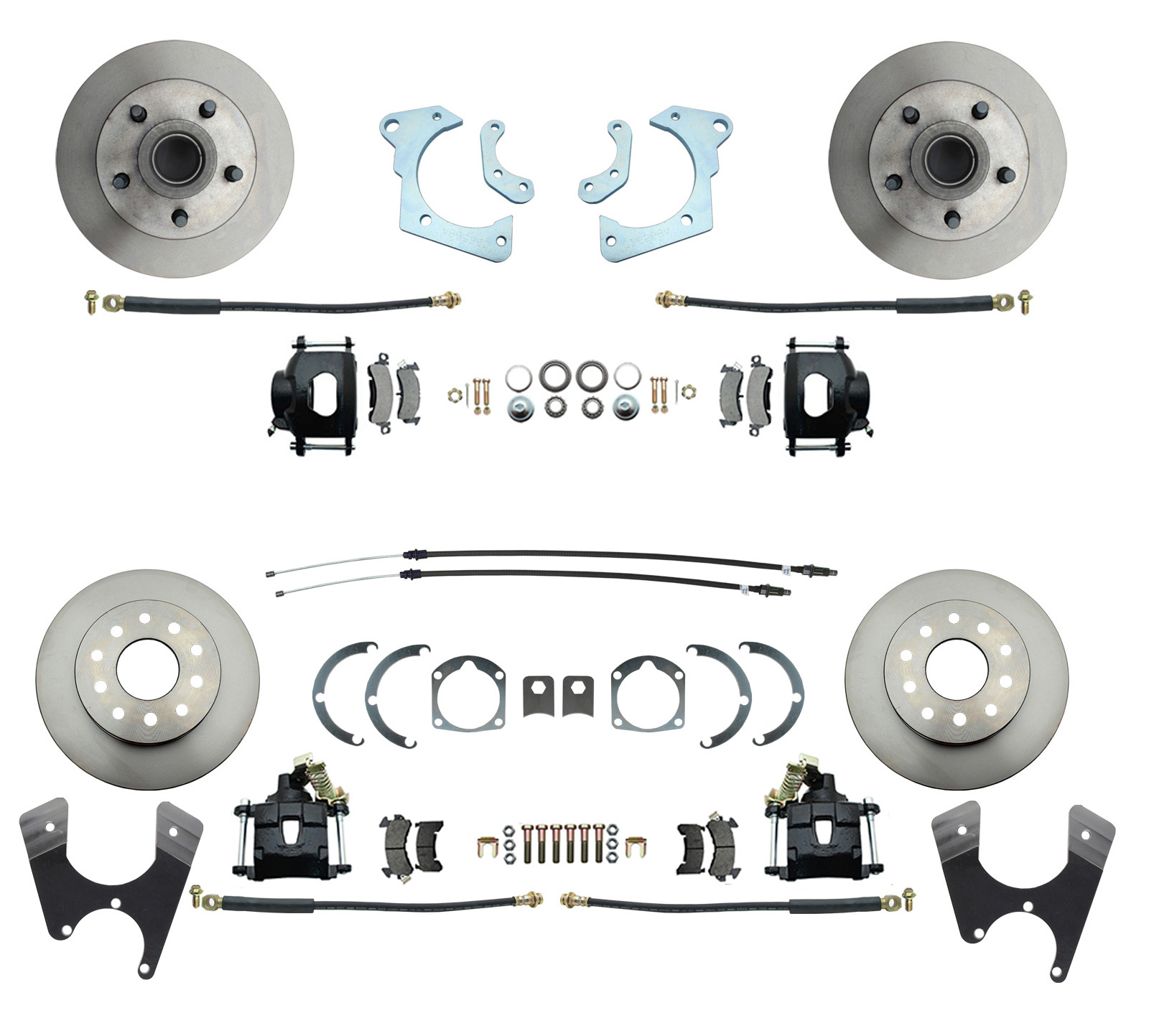 1959-1964 Full Size Chevy Complete Front & Rear Disc Brake Conversion Kit W/ Powder Coated Black Calipers