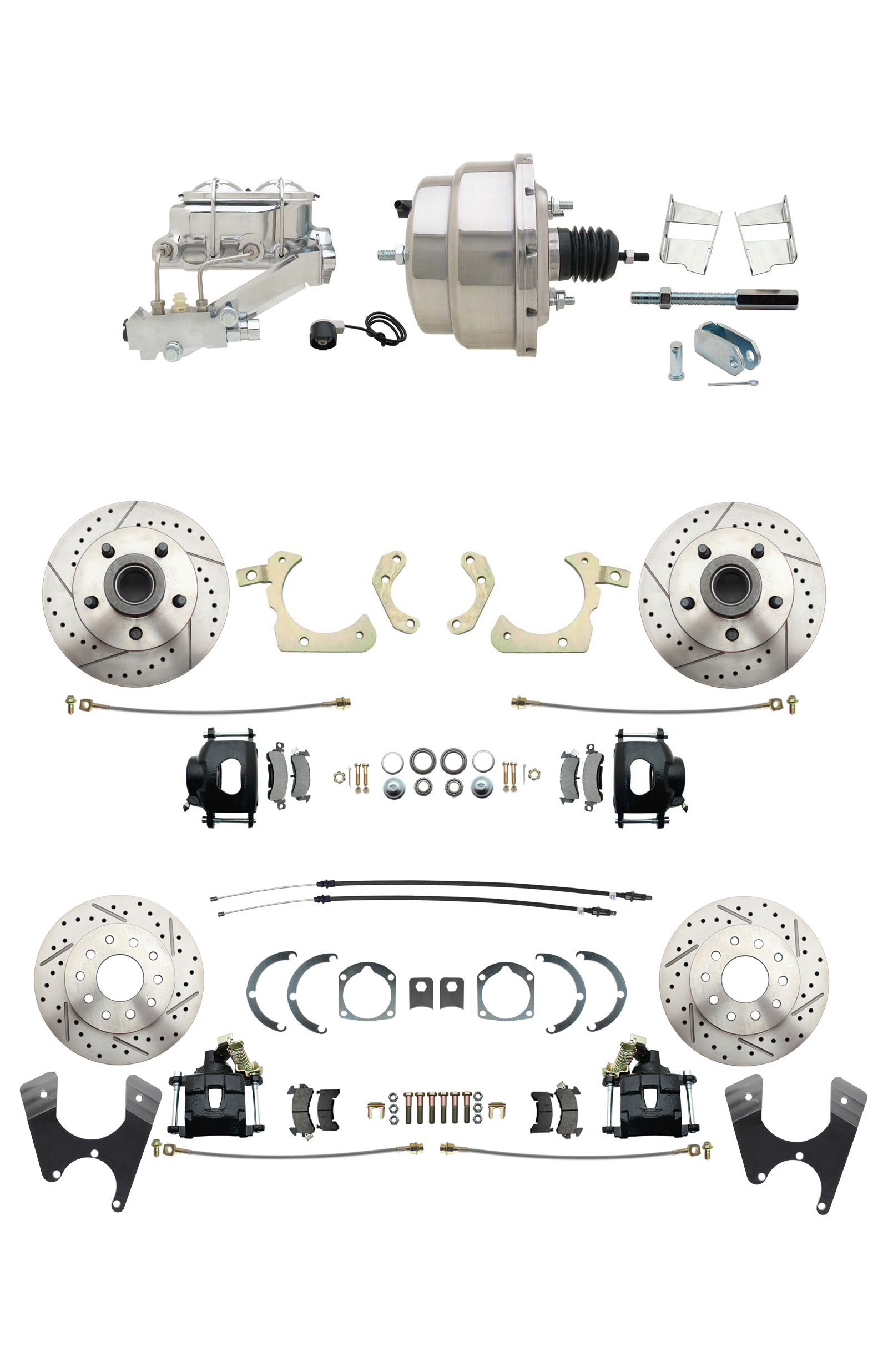 1959-1964 GM Full Size Front & Rear Power Disc Brake Kit Black Powder Coated Calipers Drilled/Slotted Rotors (Impala, Bel Air, Biscayne) & 8 Dual Stainless Steel Booster Conversion Kit W/ Chrome Master Cylinder Left Mou
