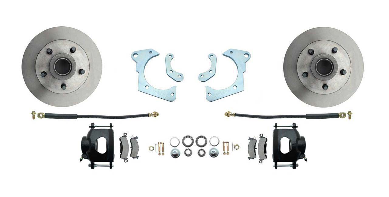 1959-1964 Full Size Chevy Complete Disc Brake Conversion Kit W/ Powder Coated Black Calipers