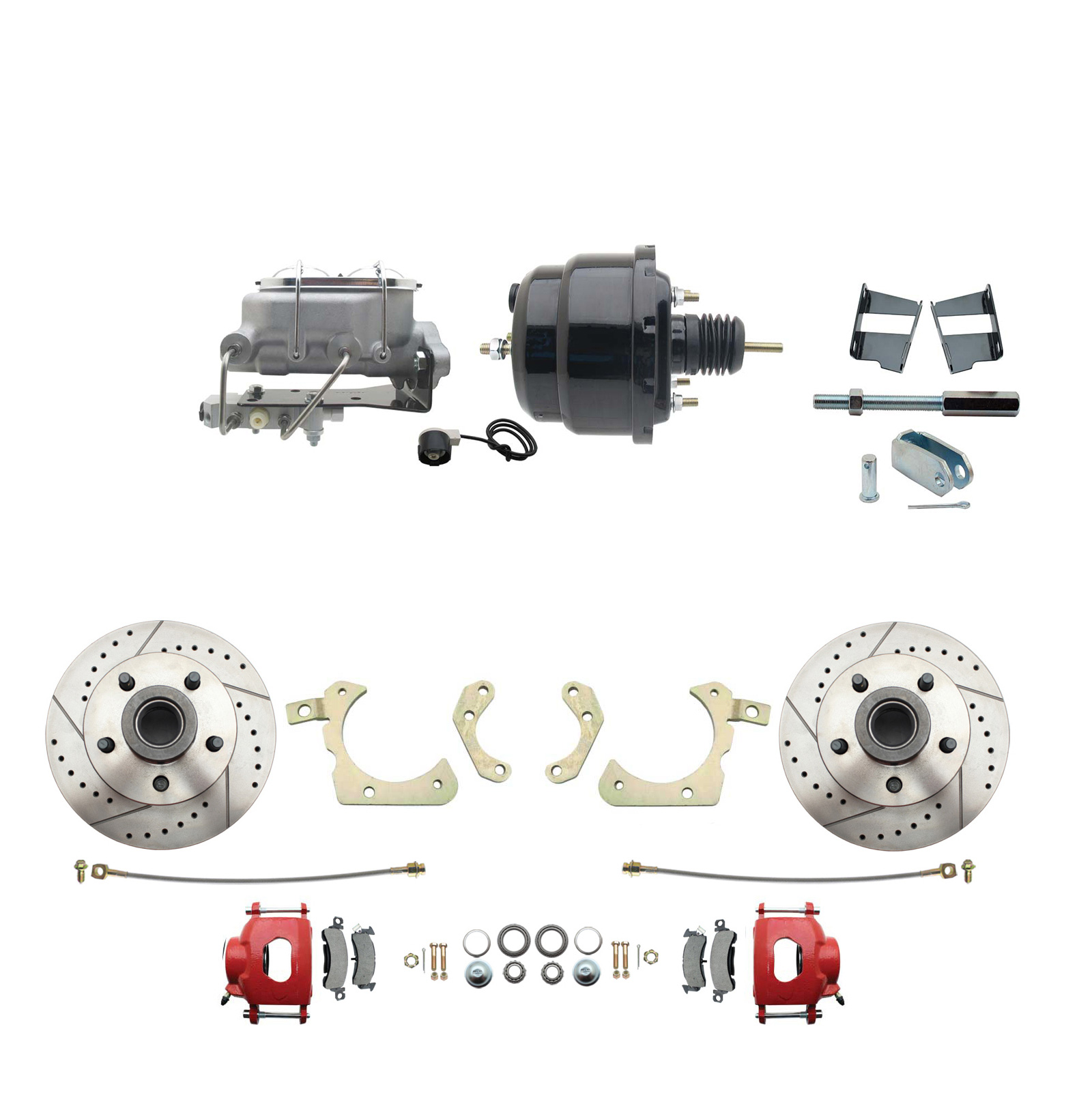 1959-1964 GM Full Size Front Disc Brake Kit Red Powder Coated Calipers Drilled/Slotted Rotors (Impala, Bel Air, Biscayne) & 8 Dual Powder Coated Black Booster Conversion Kit W/ Aluminum Master Cylinder Bottom Mount Disc/ Drum