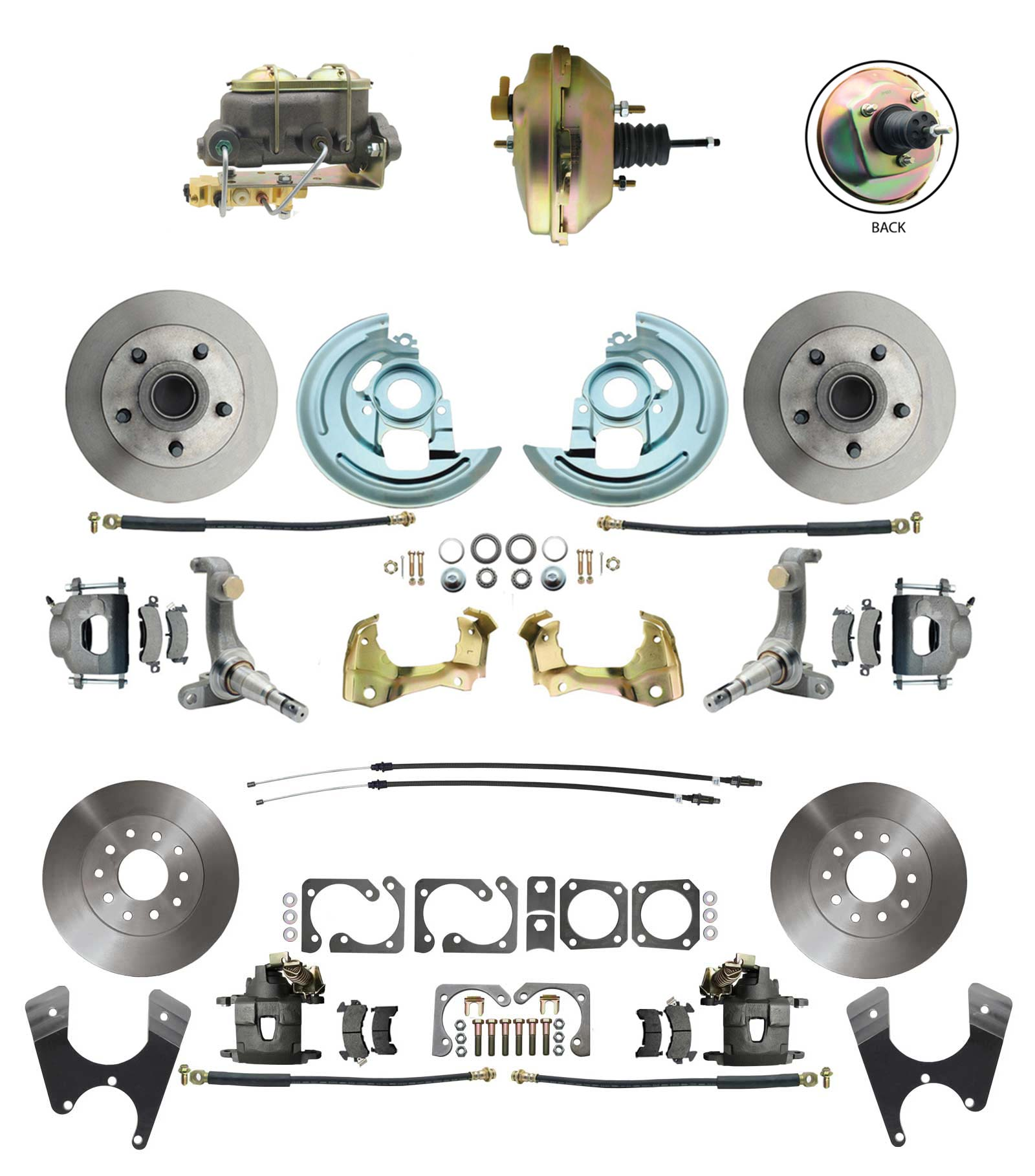 1962-1967 Nova Power Front & Rear Disc Brake Conversion Kit W/ 9 3 Stud Booster