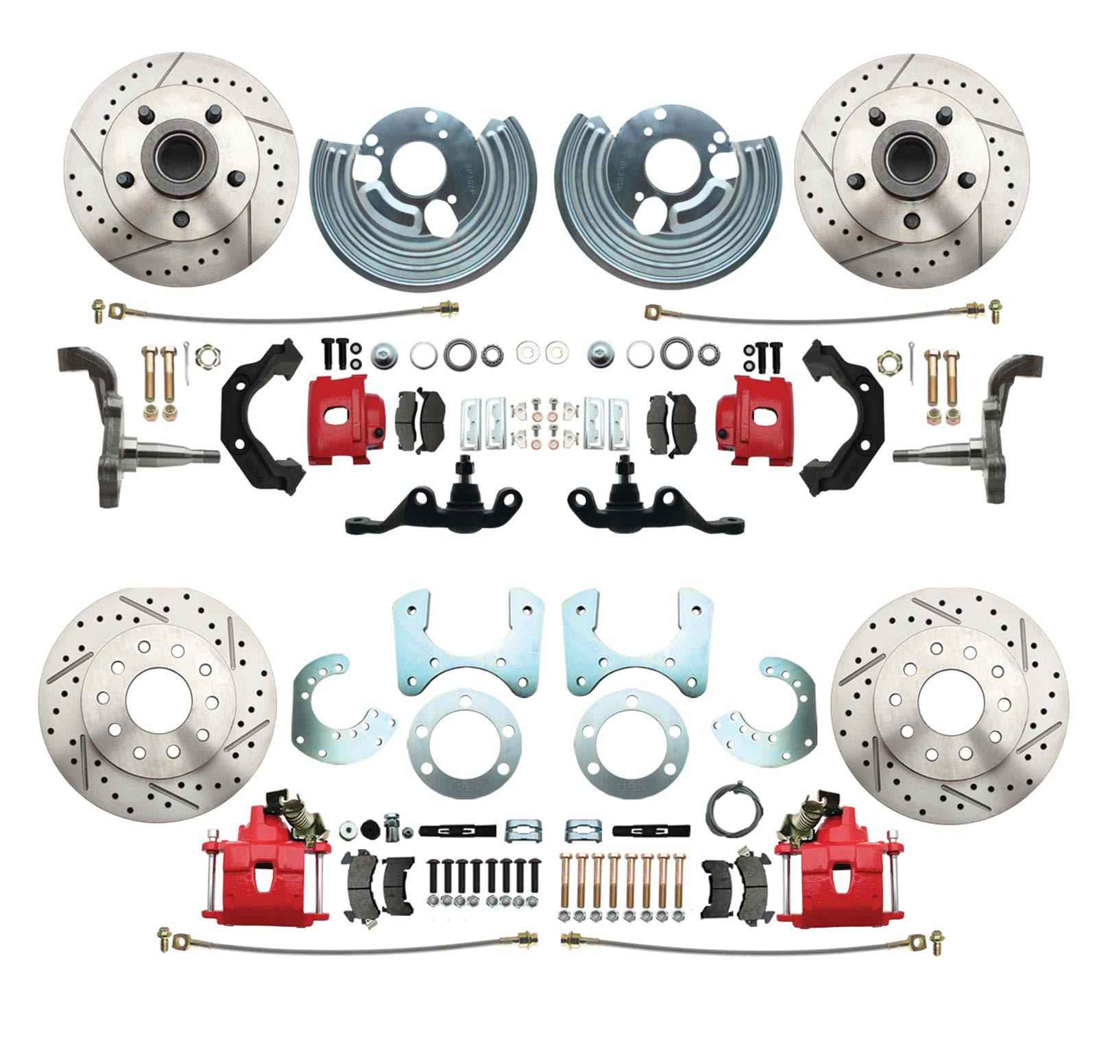 1962-1972 Mopar A Body Large Bolt Pattern High Performance Disc Brake Conversion Kit W/ Powder Coated Red Calipers