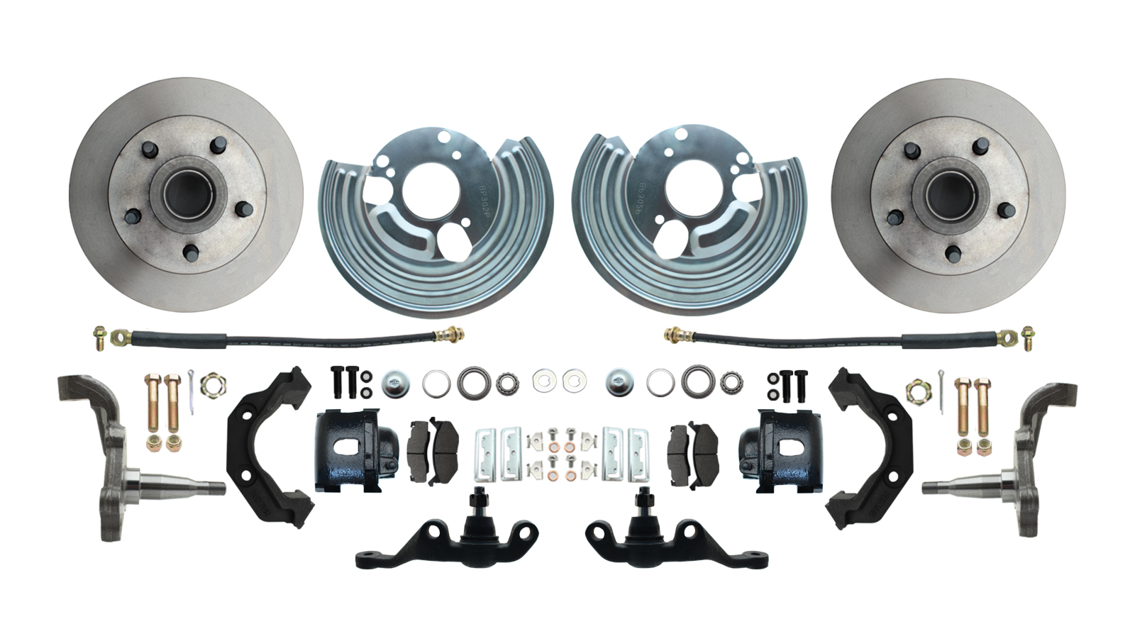 1962-1972 Mopar A Body Small Bolt Pattern Standard Disc Brake Conversion Kit W/ Powder Coated Black Calipers