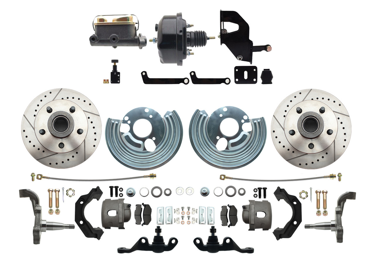 1962-1972 A Body Power Disc Brake Conversion Kit (5x4.5) Bolt Pattern Drilled & Slotted Rotors