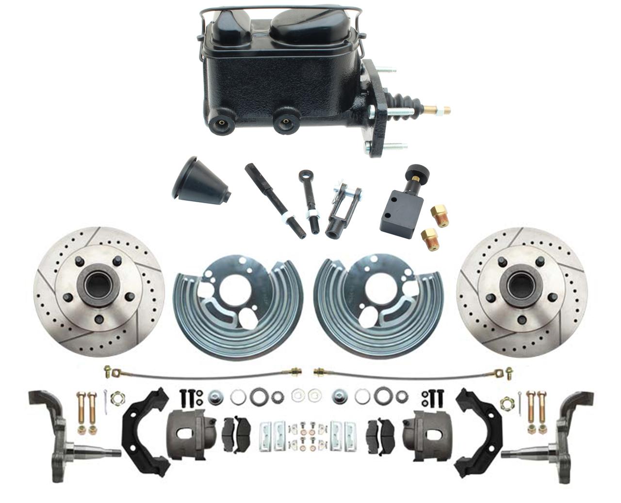 1962-72 Mopar B & E Body Standard Manual Master Front Disc Brake Conversion Kit W/ Drilled/ Slotted Rotors