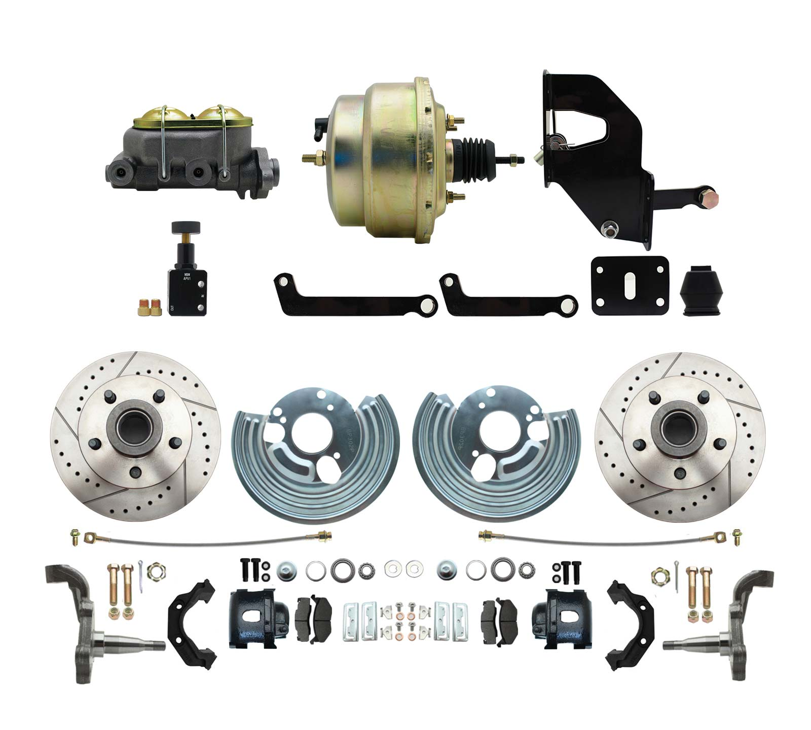 1962-72 Mopar B&E Body  Front  Disc Brake Conversion Kit W/ Drilled & Slotted Rotors & Powder Coated Black Calipers ( Charger, Challenger, Coronet) W/ 8 Dual Zinc Booster Conversion Kit W/ Adjustable Proportioning Valve