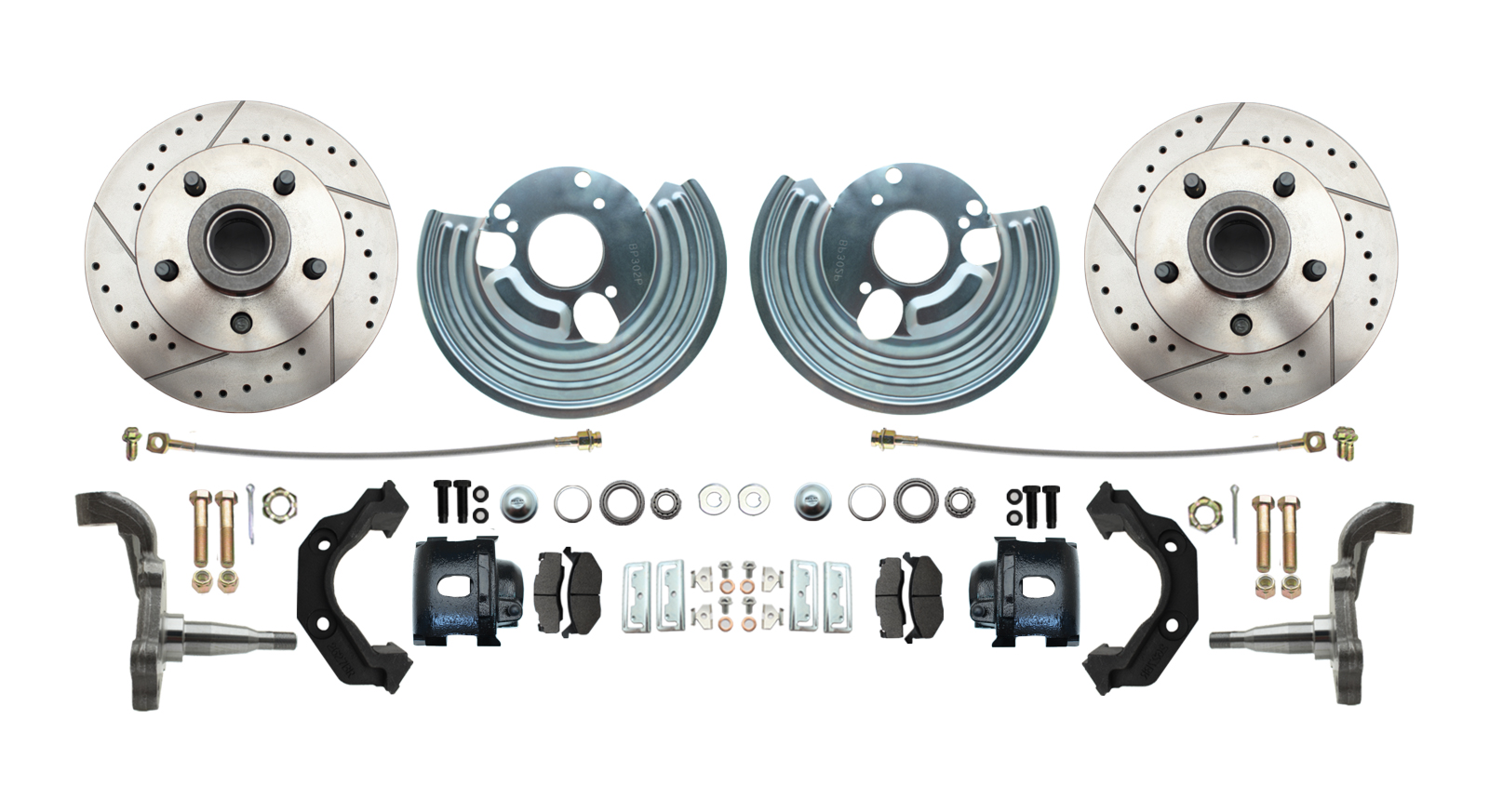 DBK6272LXB - 1962-1972 Mopar B&E Body High Performance Disc Brake Conversion Kit W/ Powder Coated Black Calipers