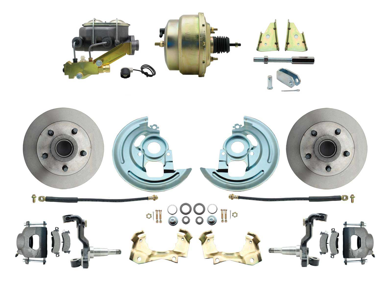 1964-1972 GM A Body Front Power Disc Brake Conversion Kit Standard Rotors W/ 8 Dual Zinc Booster Kit