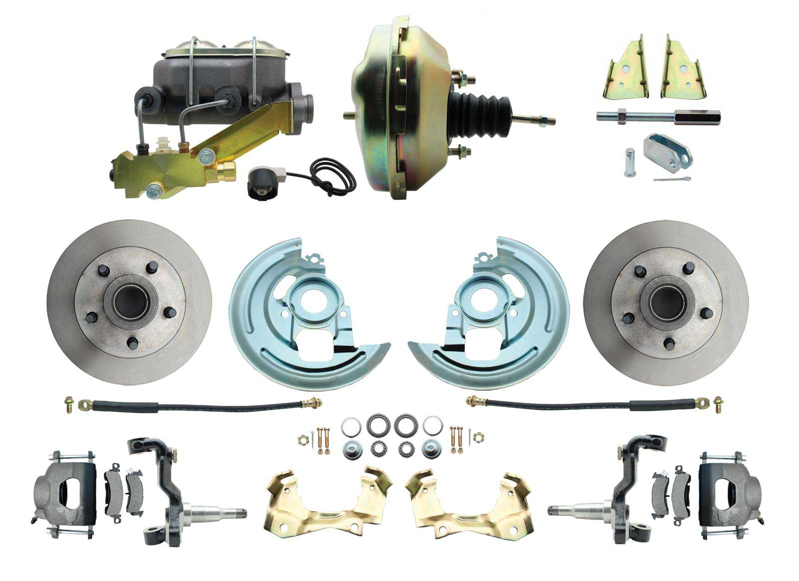1964-1972 GM A Body Front Power Disc Brake Conversion Kit Standard Rotors W/ 9 Dual Zinc Booster Kit