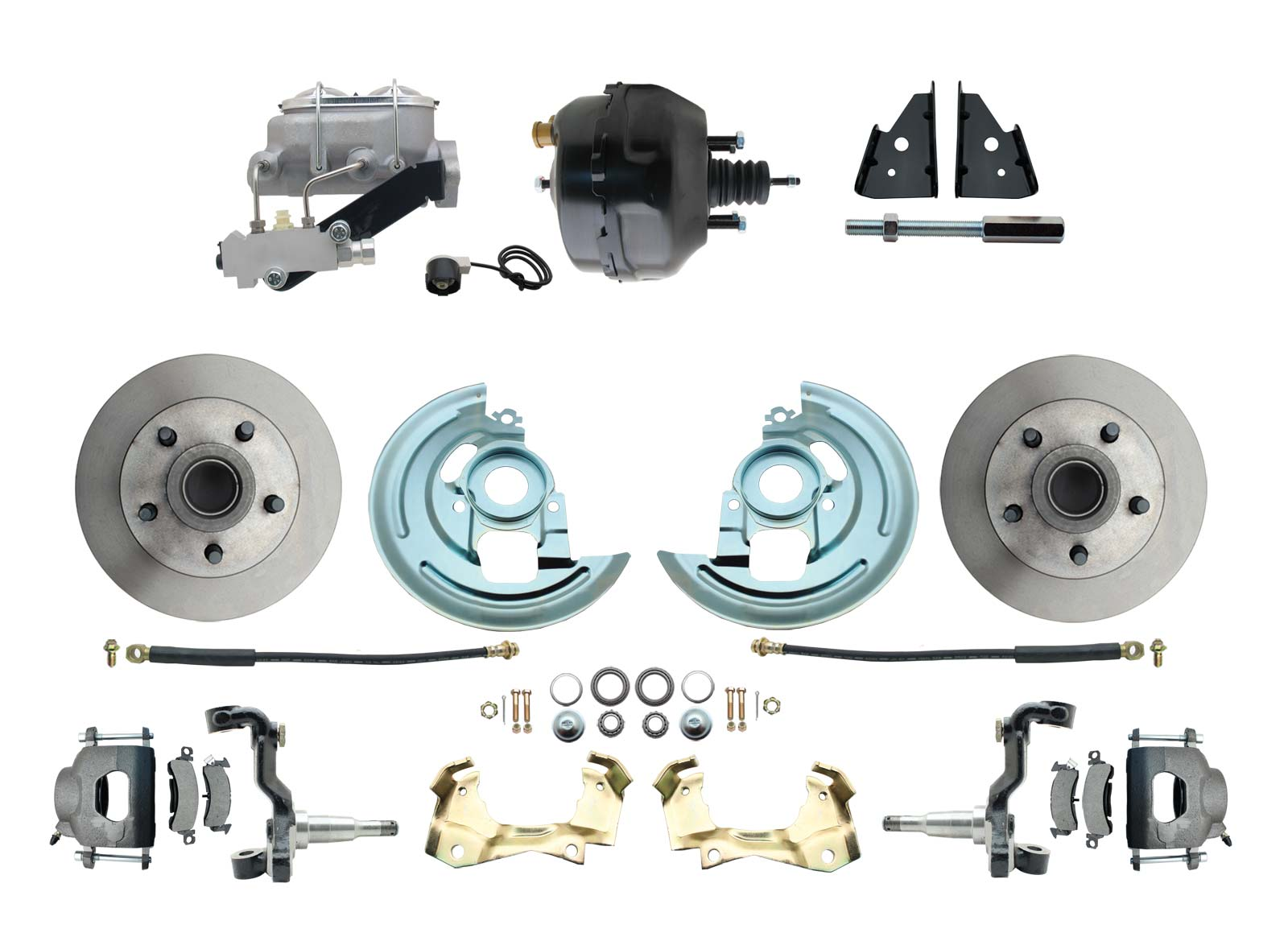 1964-1972 GM A Body Front Power Disc Brake Conversion Kit Standard Rotors 9 Dual Powder Coated Black Booster Kit