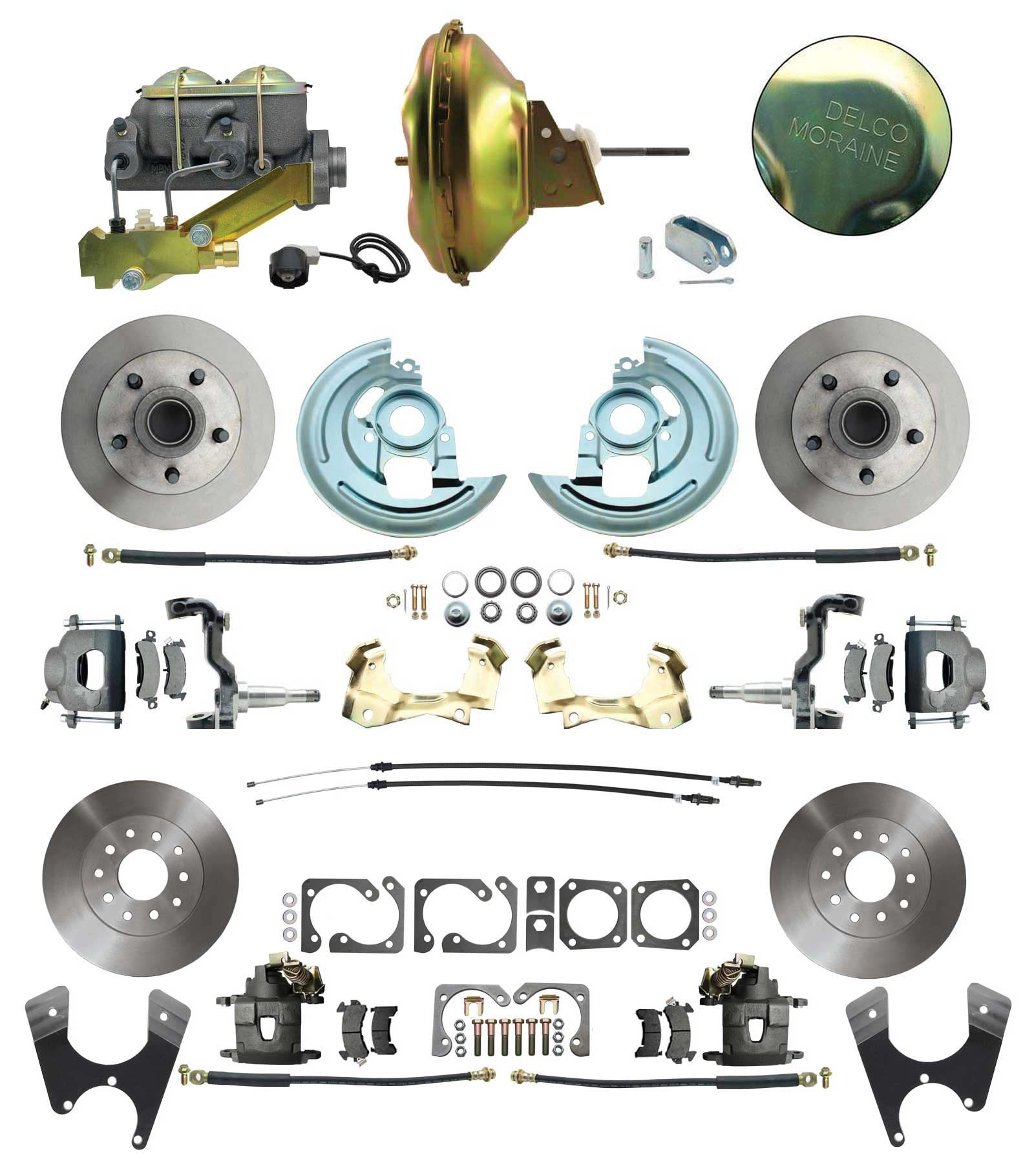 1964-1972 GM A Body Front & Rear Power Disc Brake Conversion Kit Standard Rotors W/ 11 Delco Stamped Booster Kit & Casting Number Master
