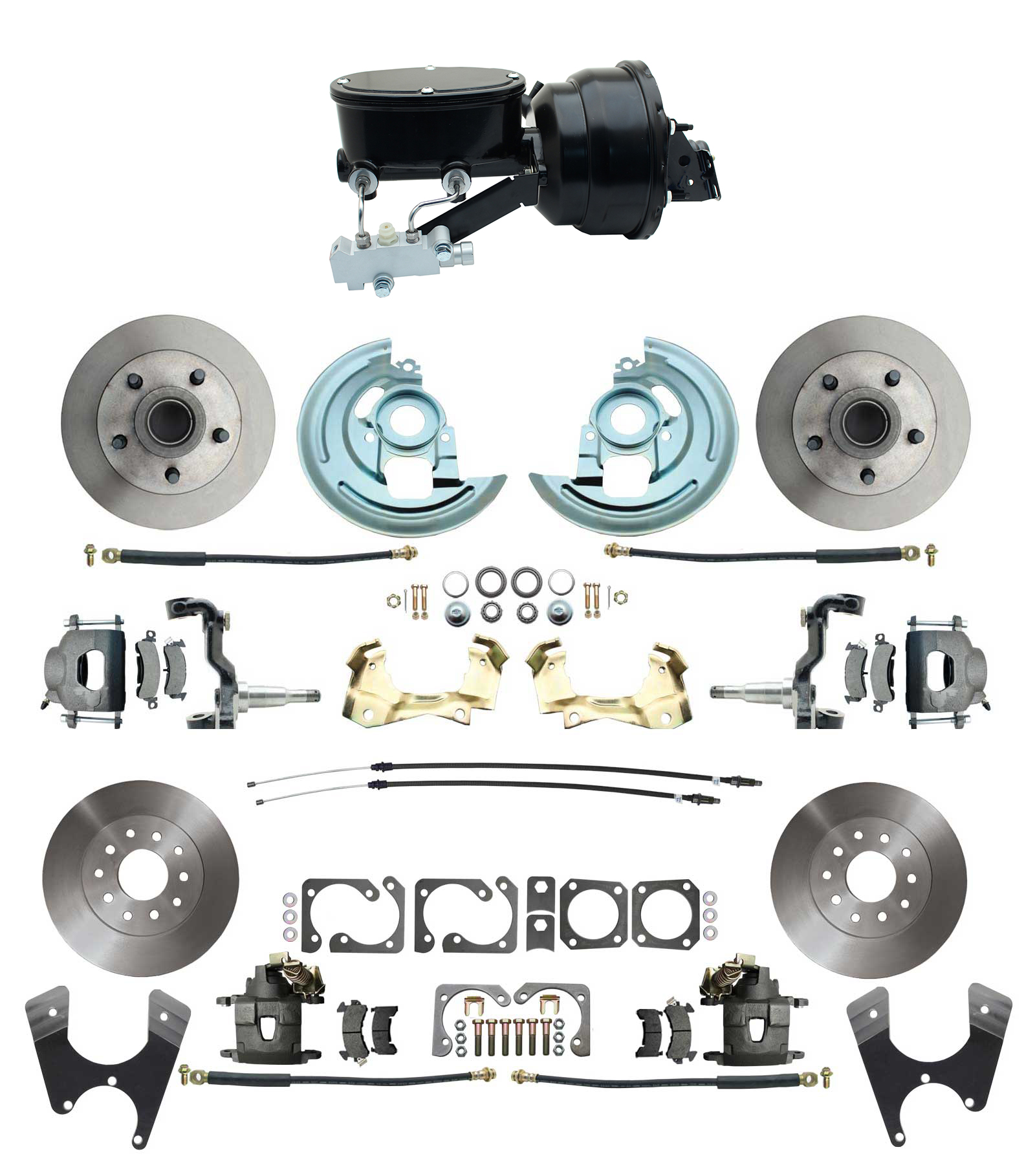 1964-1972 GM A Body Front & Rear Power Disc Brake Conversion Kit Standard Rotors W/ Wilwood Style 8 Dual Powder Coated Black Booster Kit