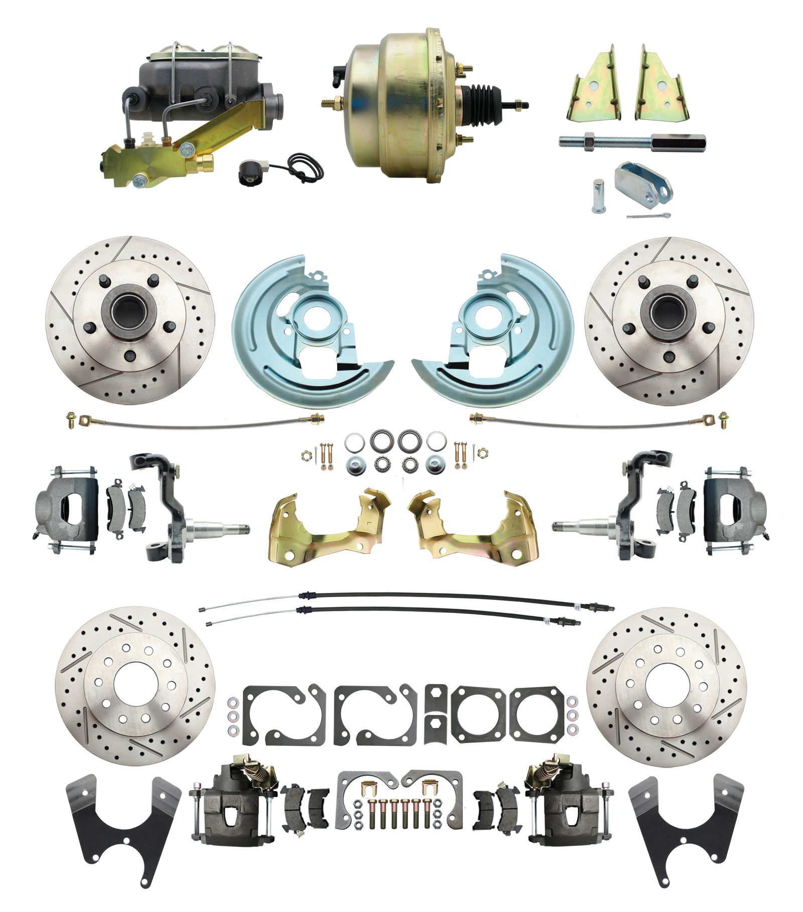 1964-1972 GM A Body Front & Rear Power Disc Brake Conversion Kit Drilled & Slotted Rotors W/ 8Dual Zinc Booster Kit
