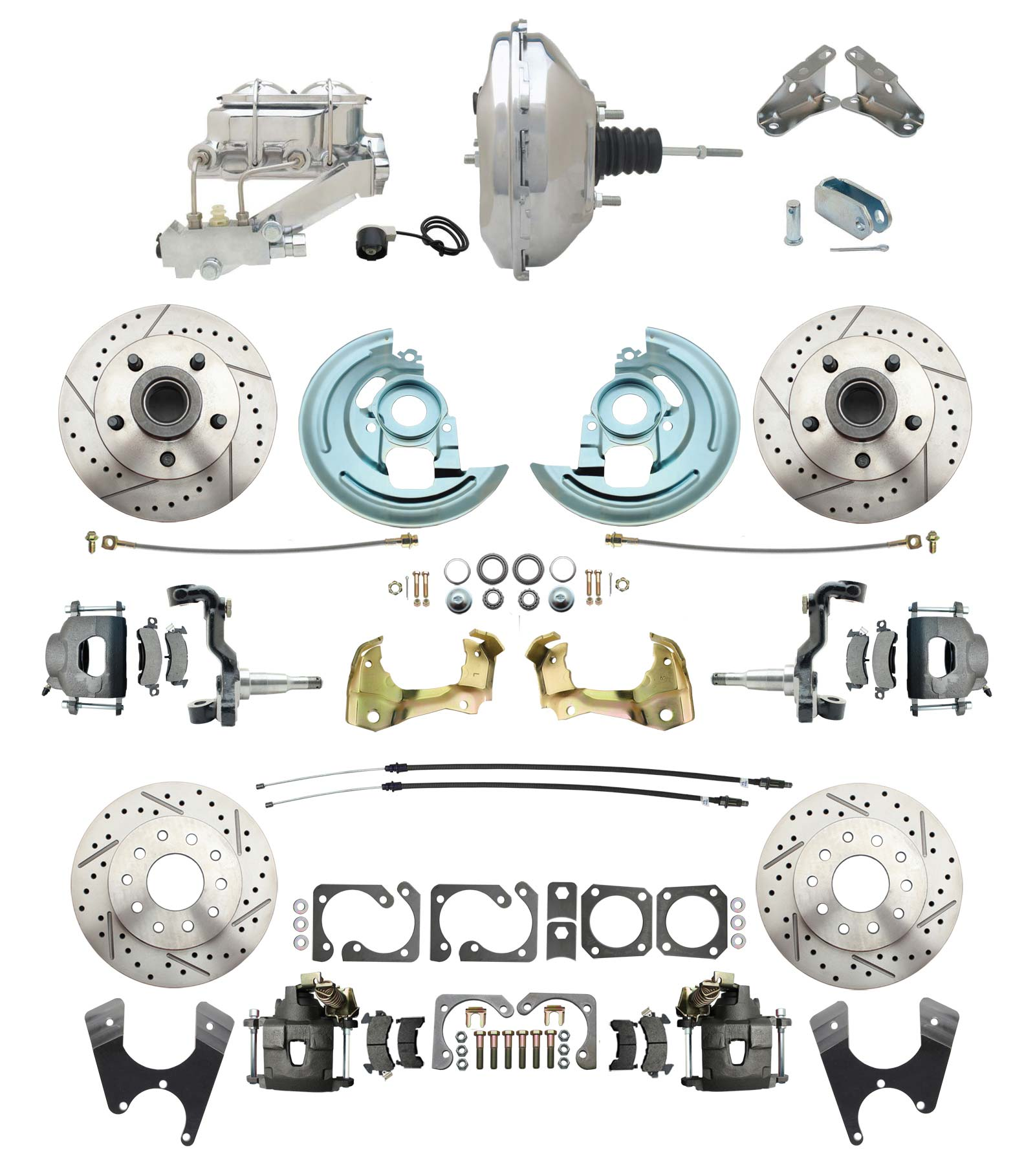1964-1972 GM A Body Front & Rear Power Disc Brake Conversion Kit Drilled/ Slotted Rotors W/ 11 Chrome Booster Kit