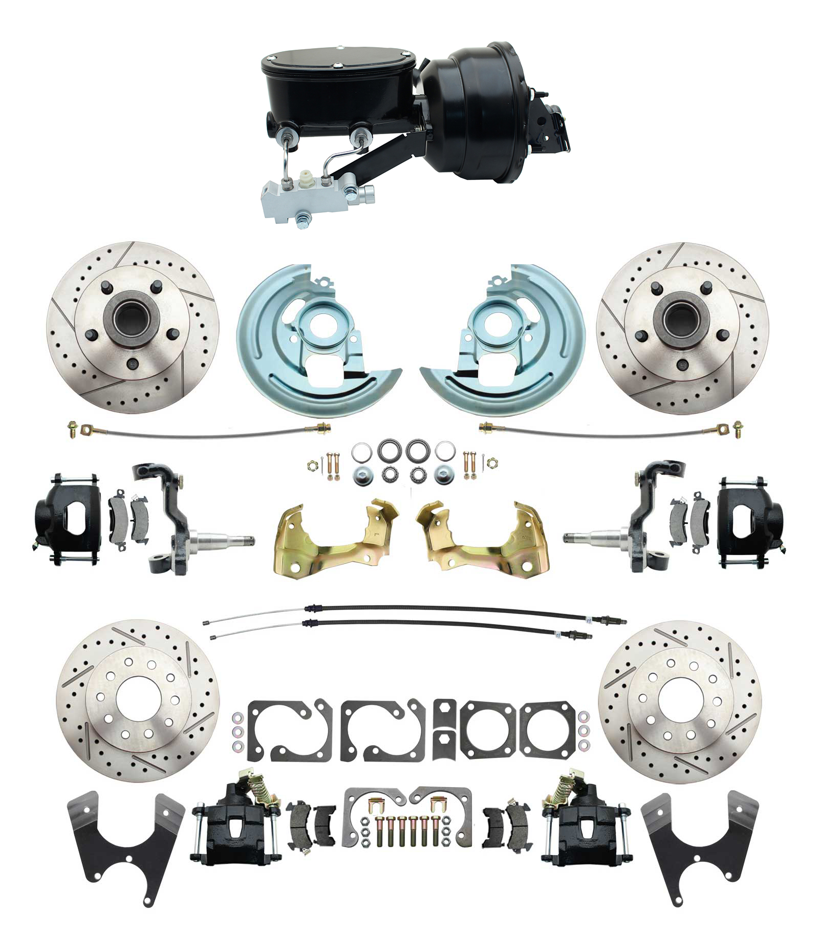 1964-1972 GM A Body Front & Rear Power Disc Brake Conversion Kit Drilled & Slotted & Powder Coated Black Calipers Rotors W/ Wilwood Style 8 Dual Powder Coated Black Booster Kit