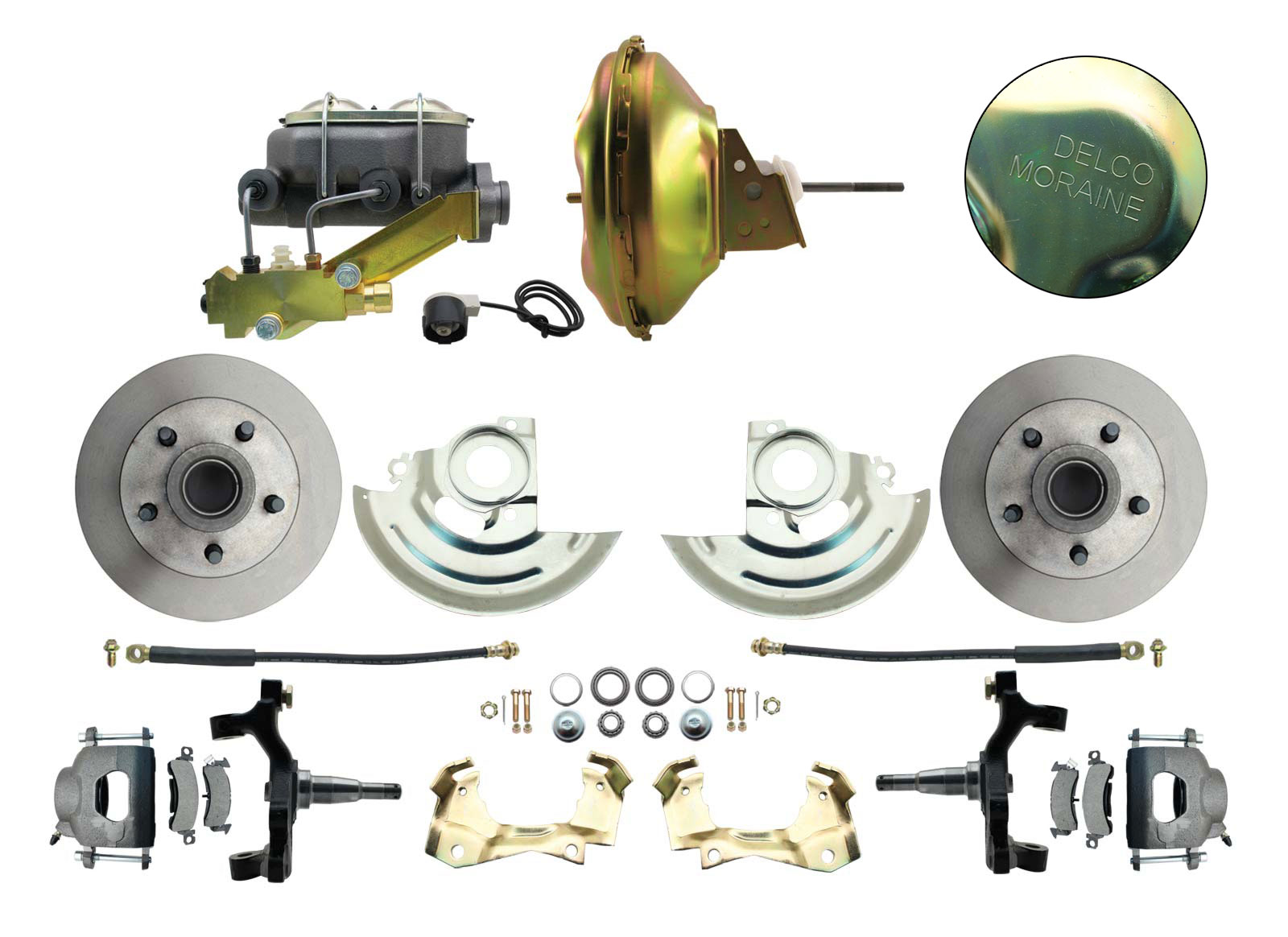 1964-1972 GM A Body Front Power 2 Drop Disc Brake Conversion Kit Standard Rotors W/ 11 Delco Stamped Booster Kit