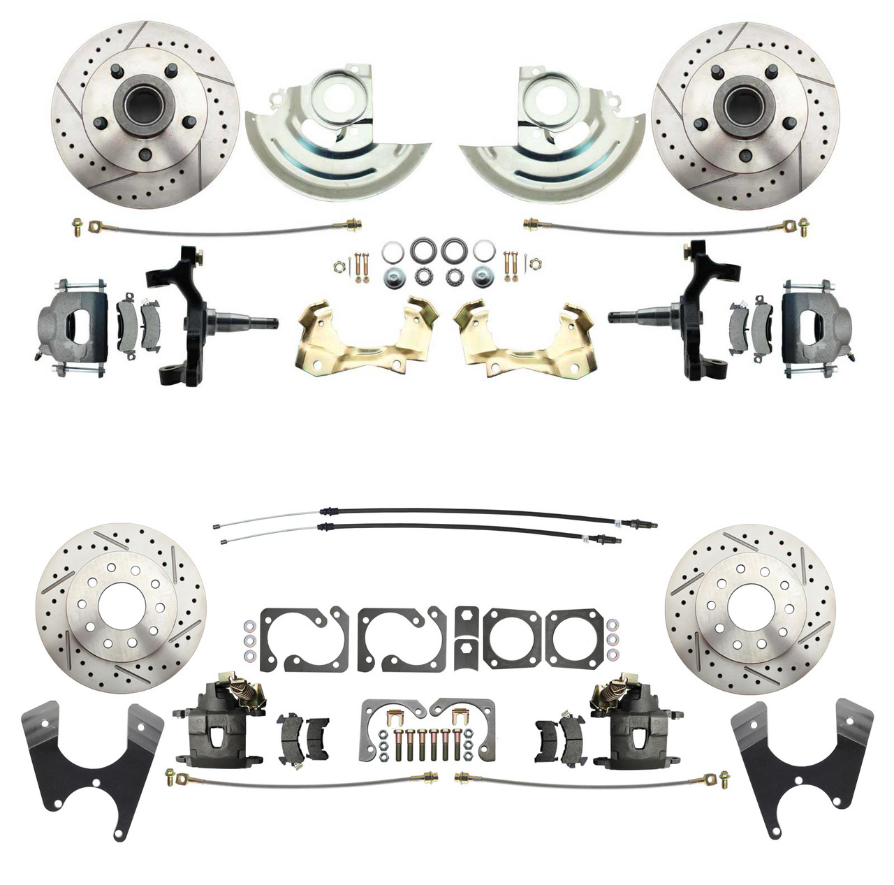 1964-1972 GM A Body (Chevelle, GTO, Cutlass) 2 Drop Front & Rear Disc Brake Kit W/ Drilled & Slotted Rotors