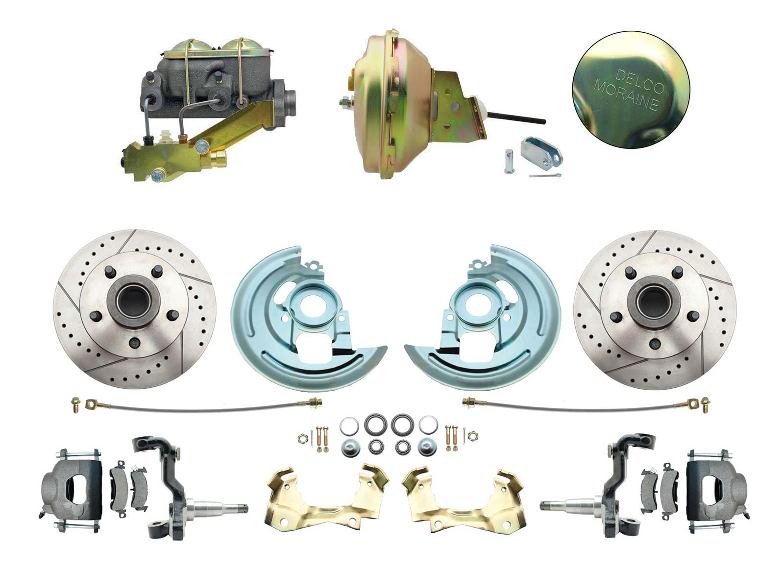 1964-1972 GM A Body Front Power Disc Brake Conversion Kit Drilled/ Slotted Rotors W/ 9 Delco Moraine Stamped Zinc Booster Kit & Casting Number Master