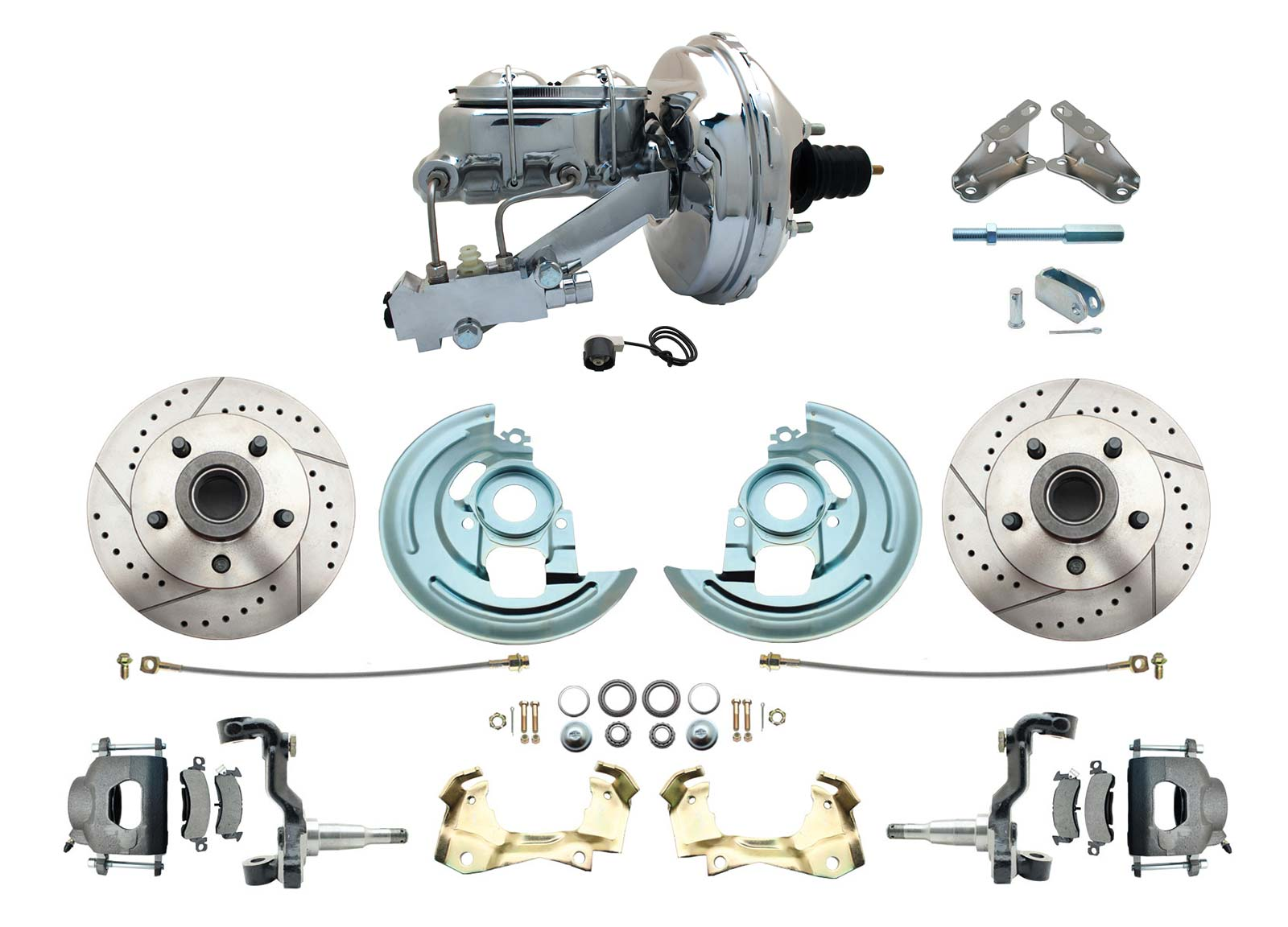 1964-1972 GM A Body Front Power Disc Brake Conversion Kit Drilled/ Slotted Rotors W/ 9 Chrome Booster Kit