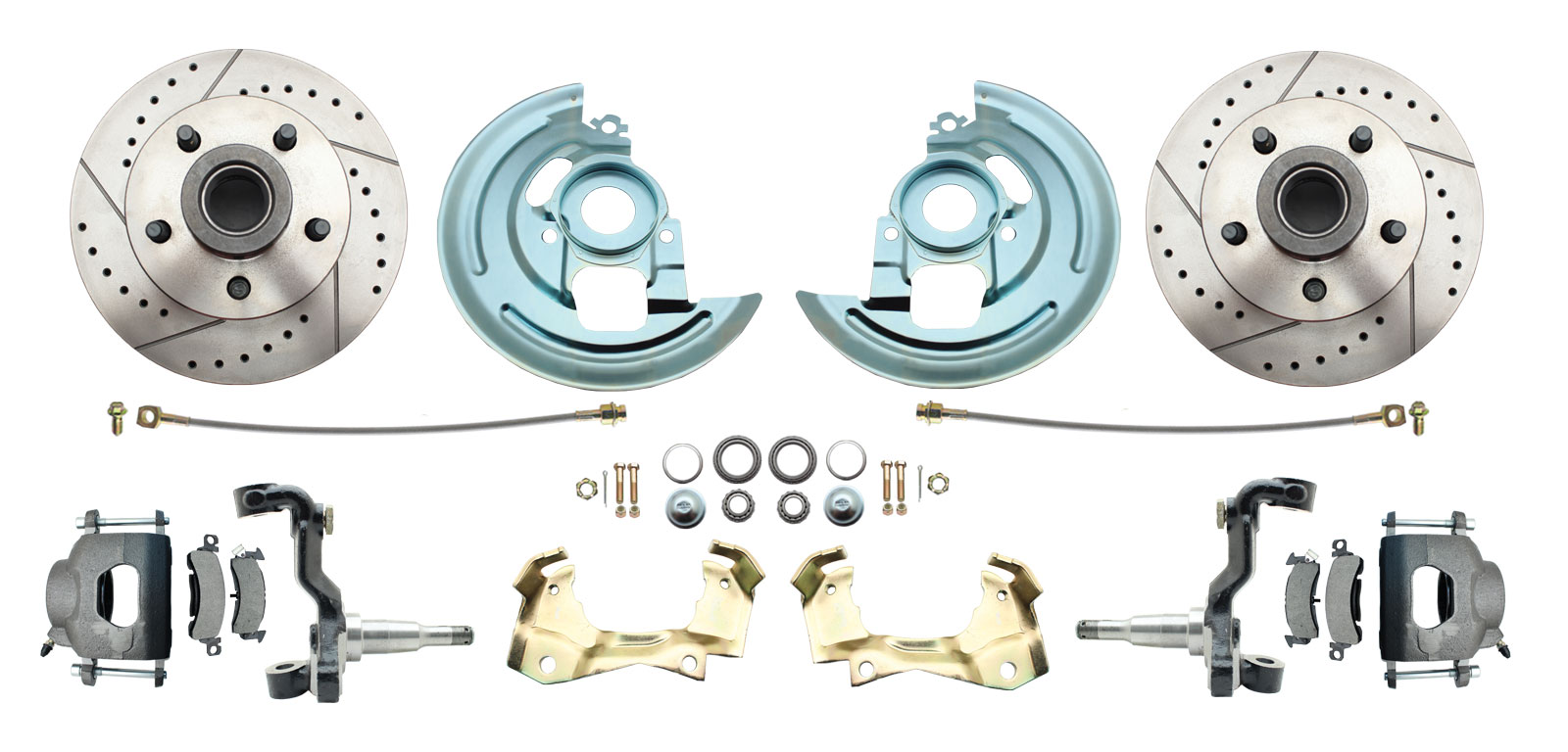 1964-1972 GM A Body (Chevelle, GTO, Cutlass) Stock Height Front Disc Brake Kit W/ Drilled & Slotted Rotors