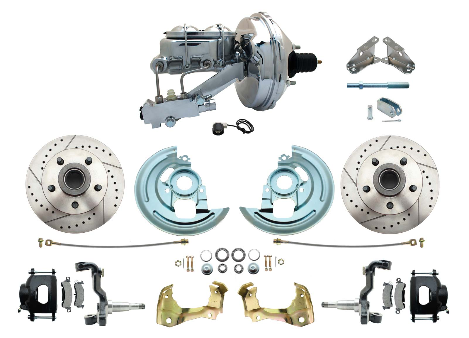 1964-1972 GM A Body Front Power Disc Brake Conversion Kit Drilled/ Slotted Rotors Powder Coated Black Calipers W/ 9 Chrome Booster Kit