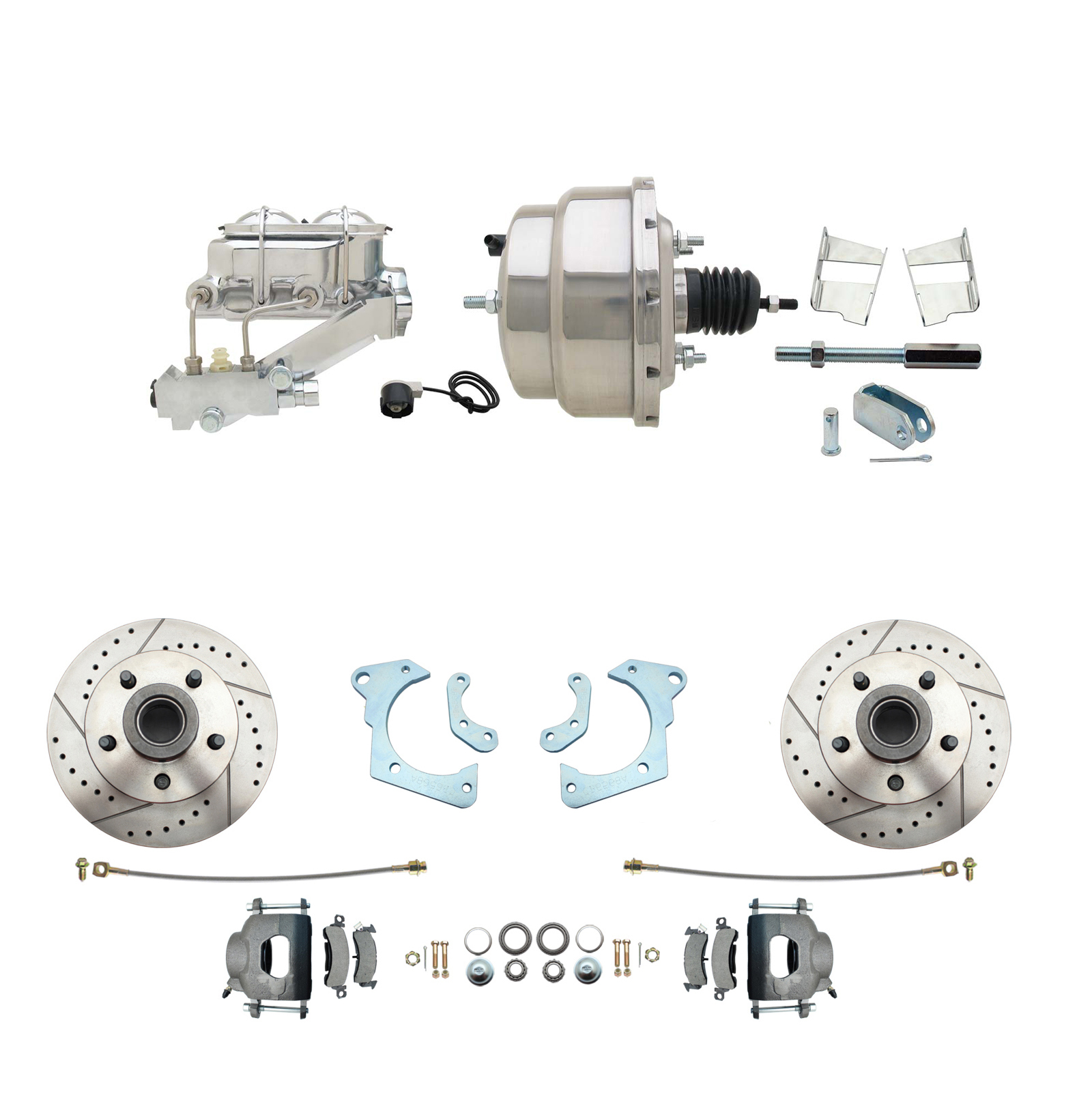 1965-1968 GM Full Size Disc Brake Kit Drilled/Slotted Rotors (Impala, Bel Air, Biscayne) & 8 Dual Stainless Steel Booster Conversion Kit W/ Chrome Master Cylinder Left Mount Disc/ Drum Proportioning Valve Kit