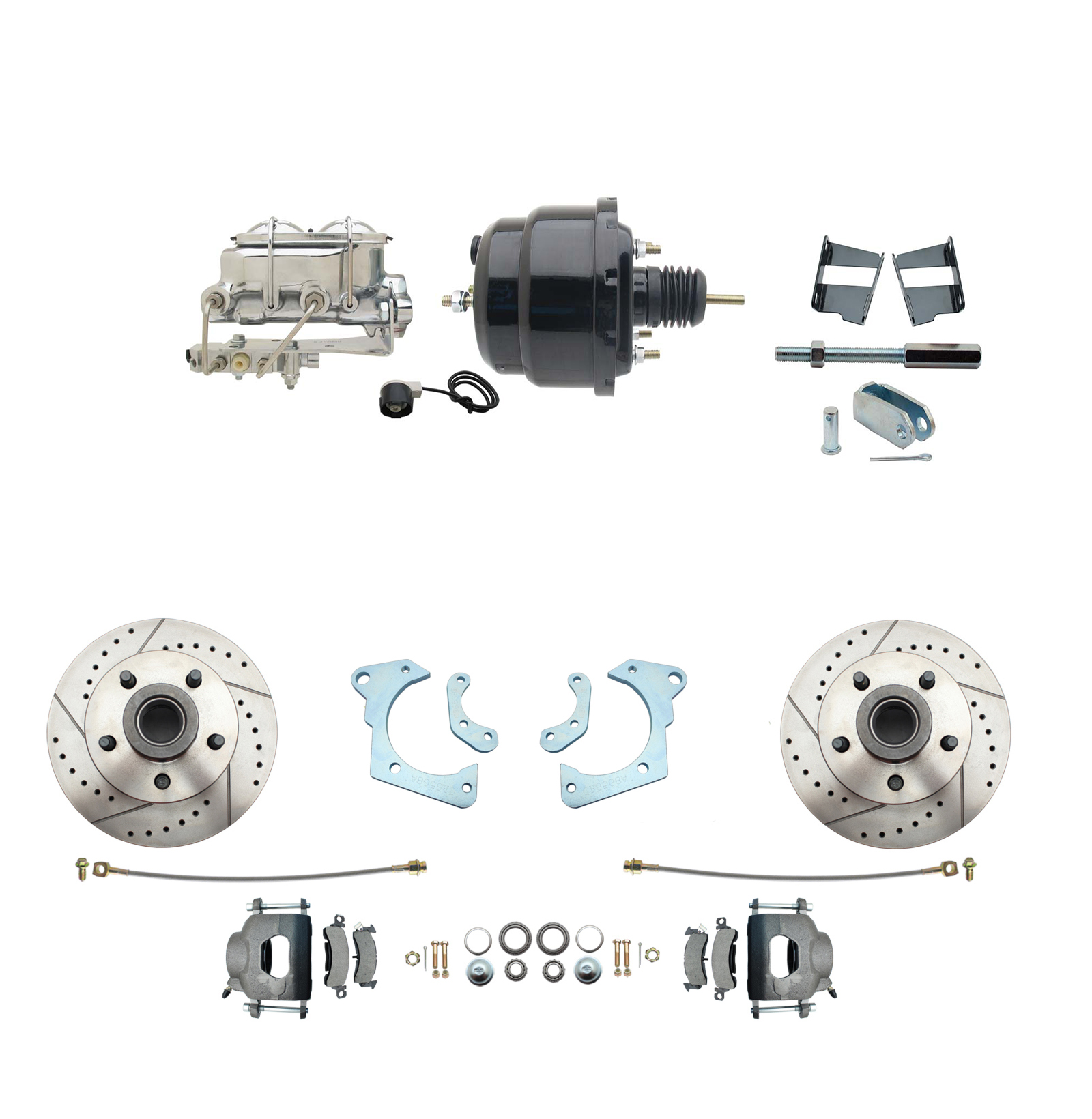 1965-1968 GM Full Size Disc Brake Kit Drilled/Slotted Rotors (Impala, Bel Air, Biscayne) & 8 Dual Powder Coated Black Booster Conversion Kit W/ Chrome Master Cylinder Bottom Mount Disc/ Drum Proportioning Valve Kit