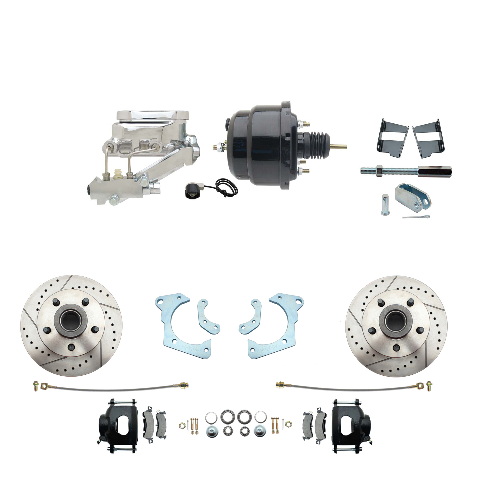 1965-1968 GM Full Size Front Disc Brake Kit Black Powder Coated Calipers Drilled/Slotted Rotors (Impala, Bel Air, Biscayne) & 8 Dual Powder Coated Black Booster Conversion Kit W/ Chrome Flat Top Master Cylinder Left Mount Dis