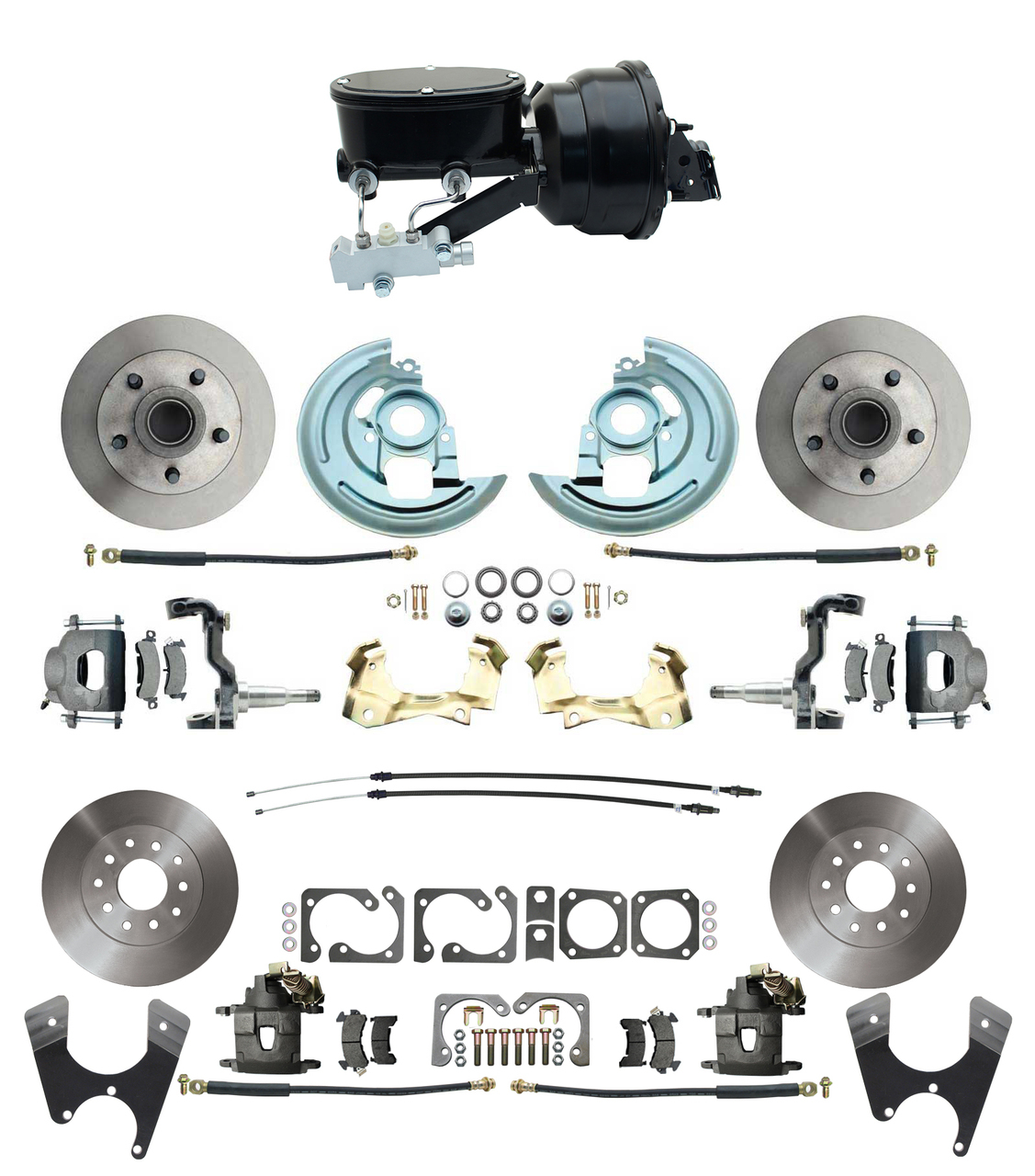1967-1969 Camaro/ Firebird & 1968-1974 Chevy Nova Front & Rear Power Disc Brake Conversion Kit Standard Rotors W/ Wilwood Style 8 Dual Powder Coated Black Booster Kit