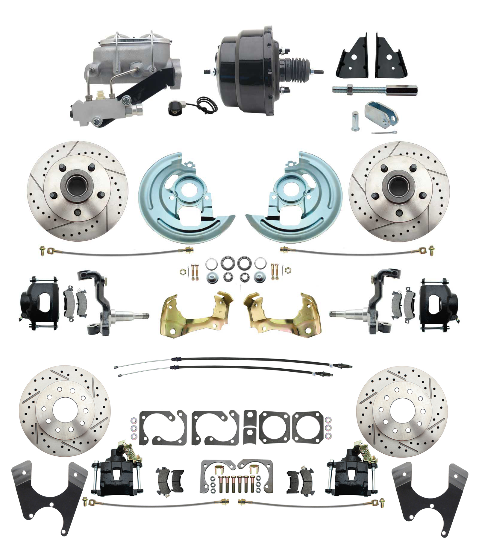 1967-1969 Camaro/ Firebird & 1968-1974 Chevy Nova Front & Rear Power Disc Brake Conversion Kit Drilled & Slotted & Powder Coated Black Calipers Rotors W/ 8 Dual Powder Coated Black Booster Kit