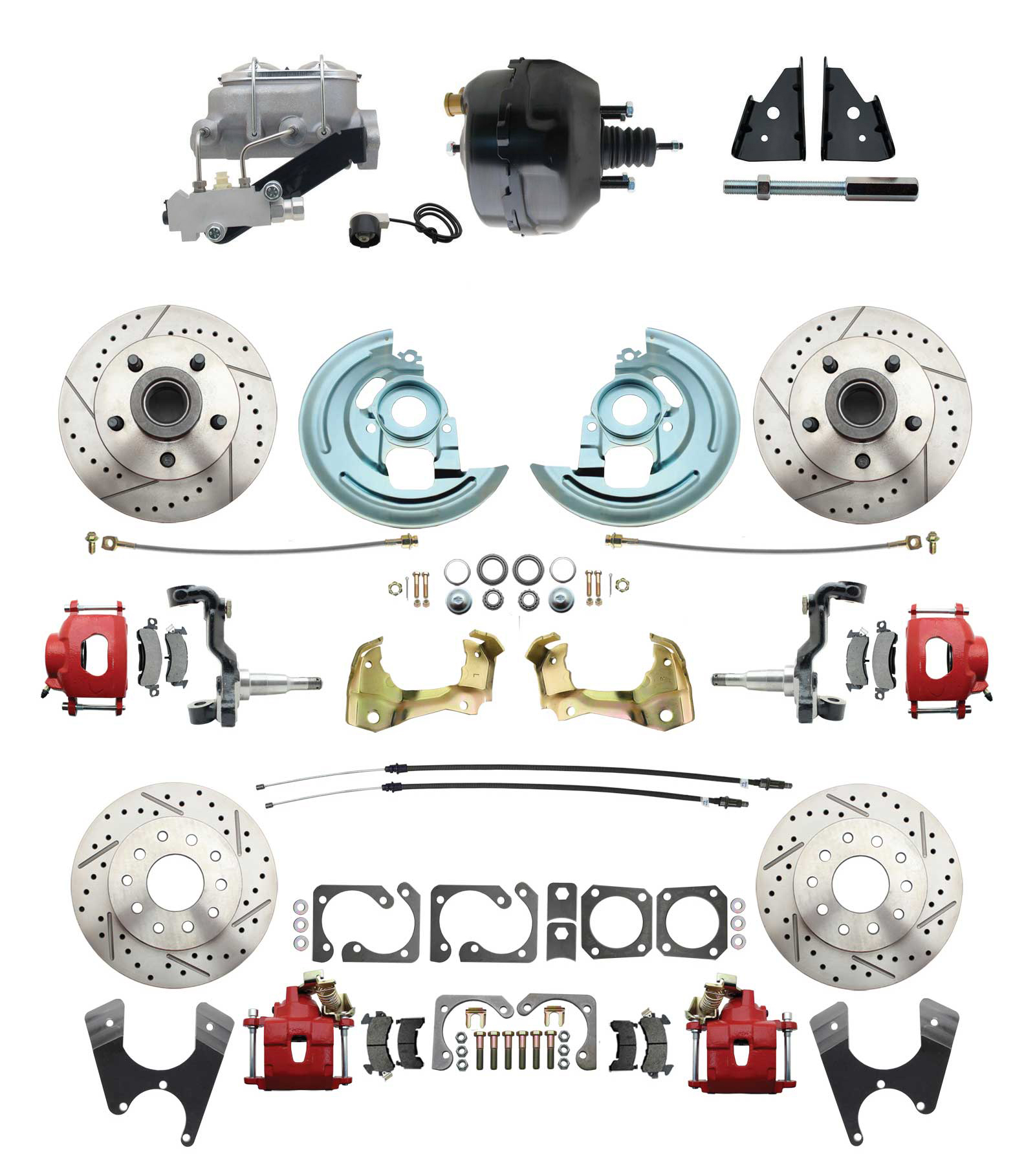 1967-1969 Camaro/ Firebird & 1968-1974 Chevy Nova Front & Rear Power Disc Brake Conversion Kit Drilled & Slotted & Powder Coated Red Calipers Rotors 9 Dual Powder Coated Black Booster Kit
