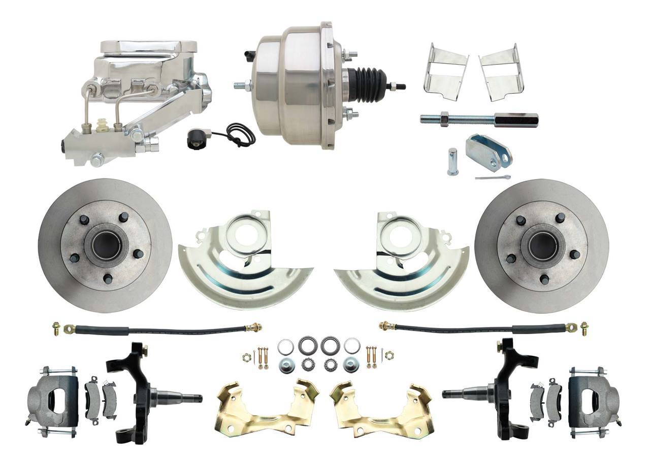 1967-1969 F Body 1968-1974 X Body Front Power 2 Drop Disc Brake Conversion Kit Standard Rotors W/8 Dual Chrome Flat Top Booster Kit