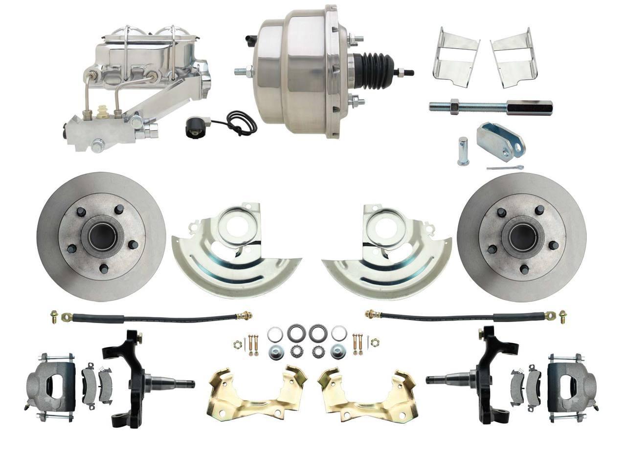 1967-1969 F Body 1968-1974 X Body Front Power 2 Drop Disc Brake Conversion Kit Standard Rotors W/ 8 Dual Chrome Booster Kit
