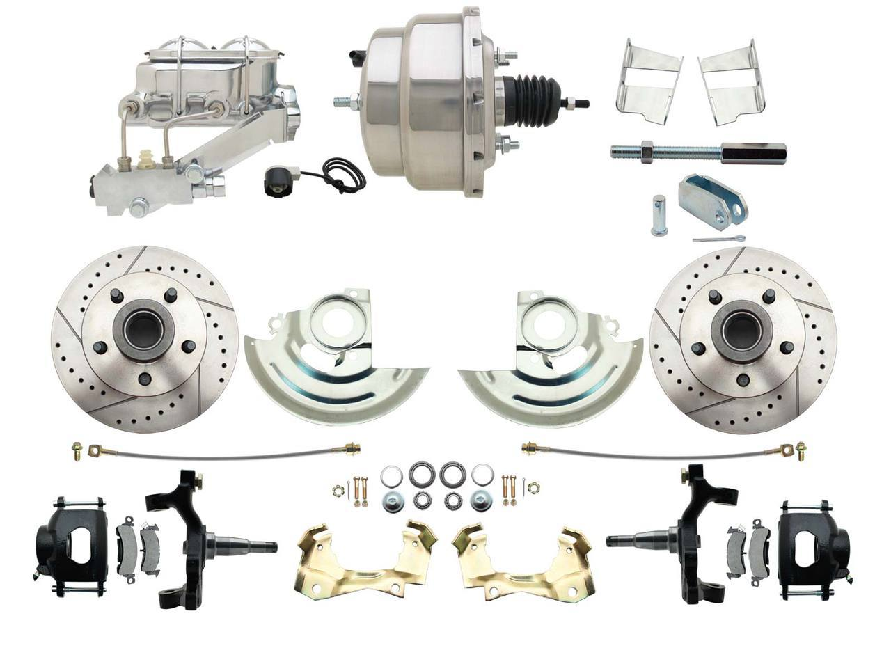 1967-1969 F Body 1968-1974 X Body Front Power 2 Drop Disc Brake Conversion Kit Drilled & Slotted & Powder Coated Black Calipers Rotors W/ 8 Dual Chrome Booster Kit