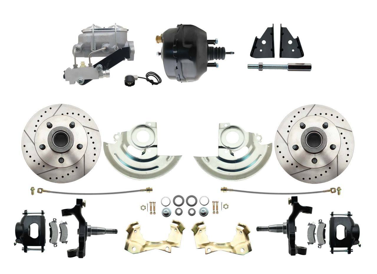1967-1969 F Body 1968-1974 X Body Front Power 2 Drop Disc Brake Conversion Kit Drilled & Slotted & Powder Coated Black Calipers Rotors 9 Dual Powder Coated Black Booster Kit