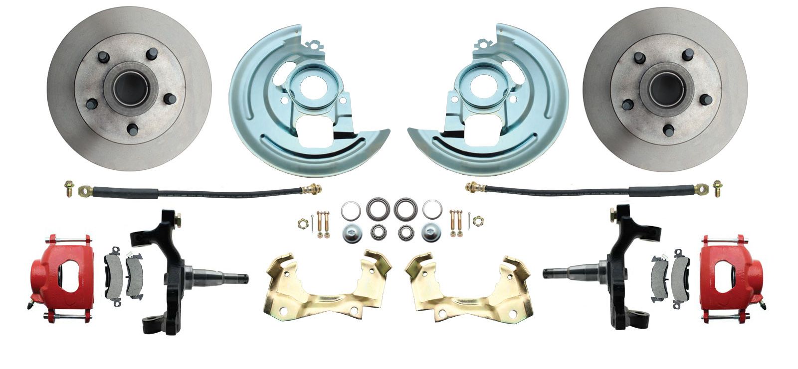 1967-1969 Camaro/ Firebird & 1968-1974 Chevy Nova 2 Drop Front Disc Brake Kit Red Calipers
