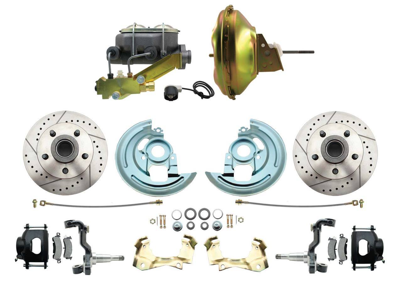 1967-1969 F Body 1968-1974 X Body Front Power Disc Brake Conversion Kit Drilled & Slotted & Powder Coated Black Calipers Rotors W/ 11 Delco Stamped Booster Kit