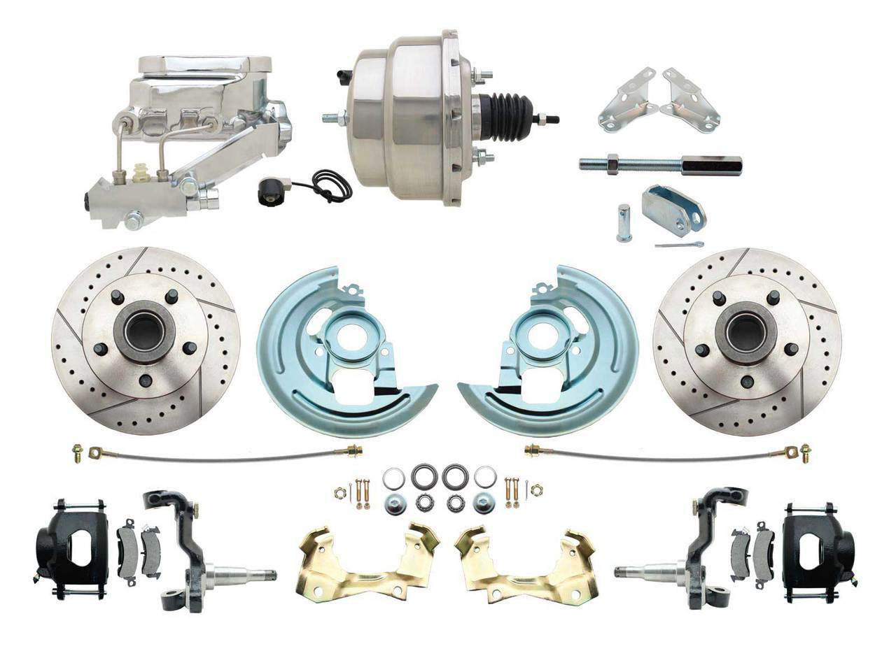 1967-1969 F Body 1968-1974 X Body Front Power Disc Brake Conversion Kit Drilled & Slotted & Powder Coated Black Calipers Rotors W/8 Dual Chrome Flat Top Booster Kit
