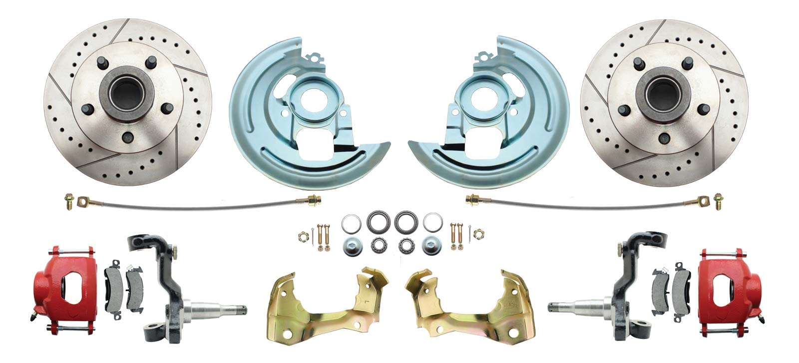 1967-1969 Camaro/ Firebird & 1968-1974 Chevy Nova Stock Height Front Disc Brake Kit W/ Drilled & Slotted Rotors Red Calipers