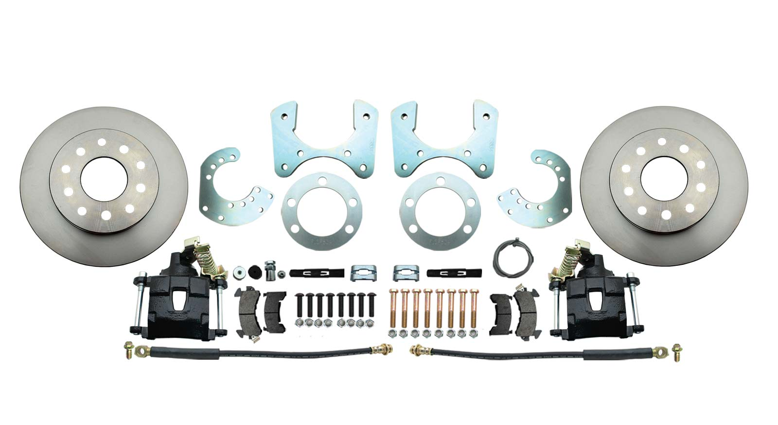 DBK834B - Mopar 8 3/4 (A, B, E Body) Rear End Standard Disc Brake Conversion Kit W/ Powder Coated Black Calipers